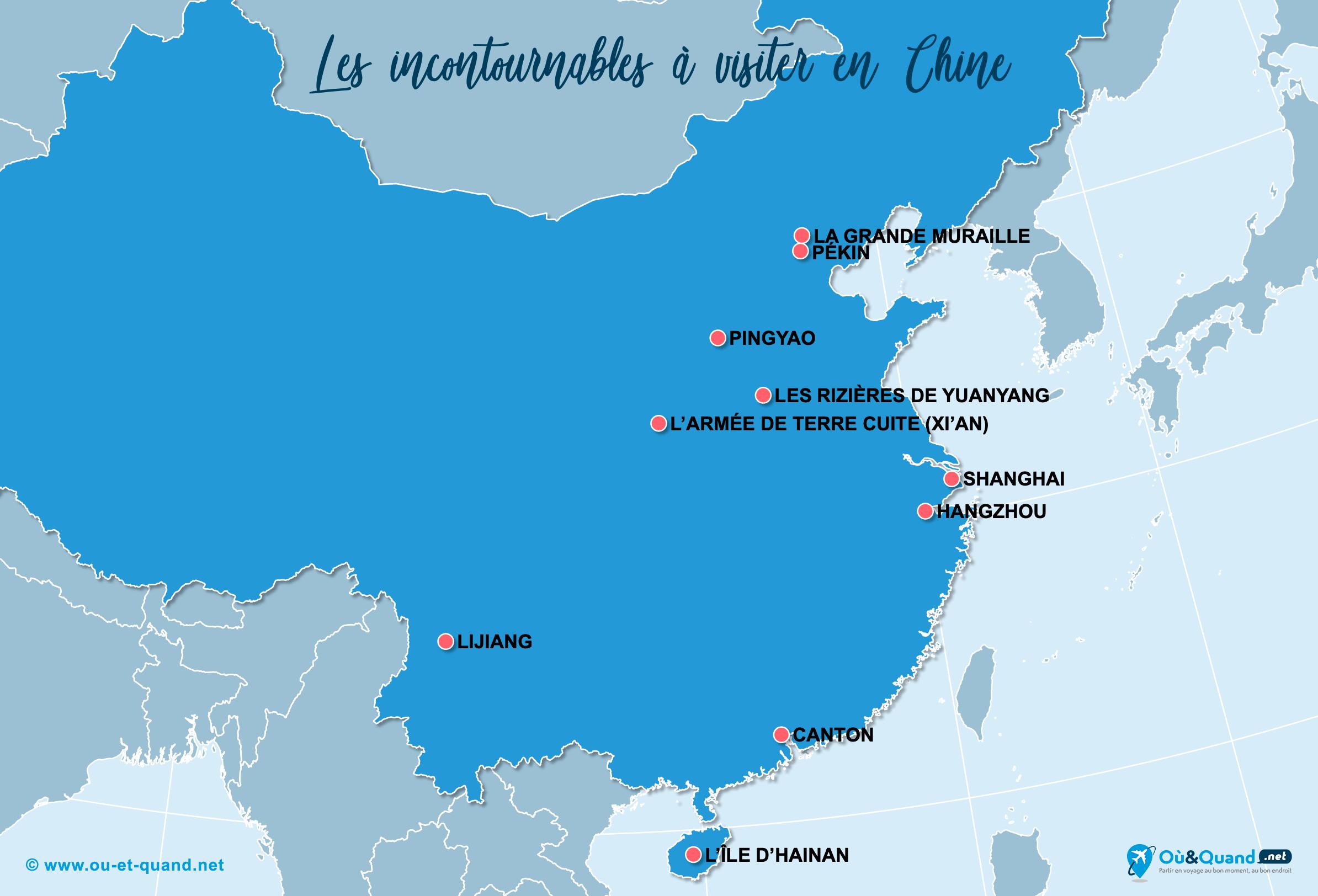 Carte Incontournables Chine