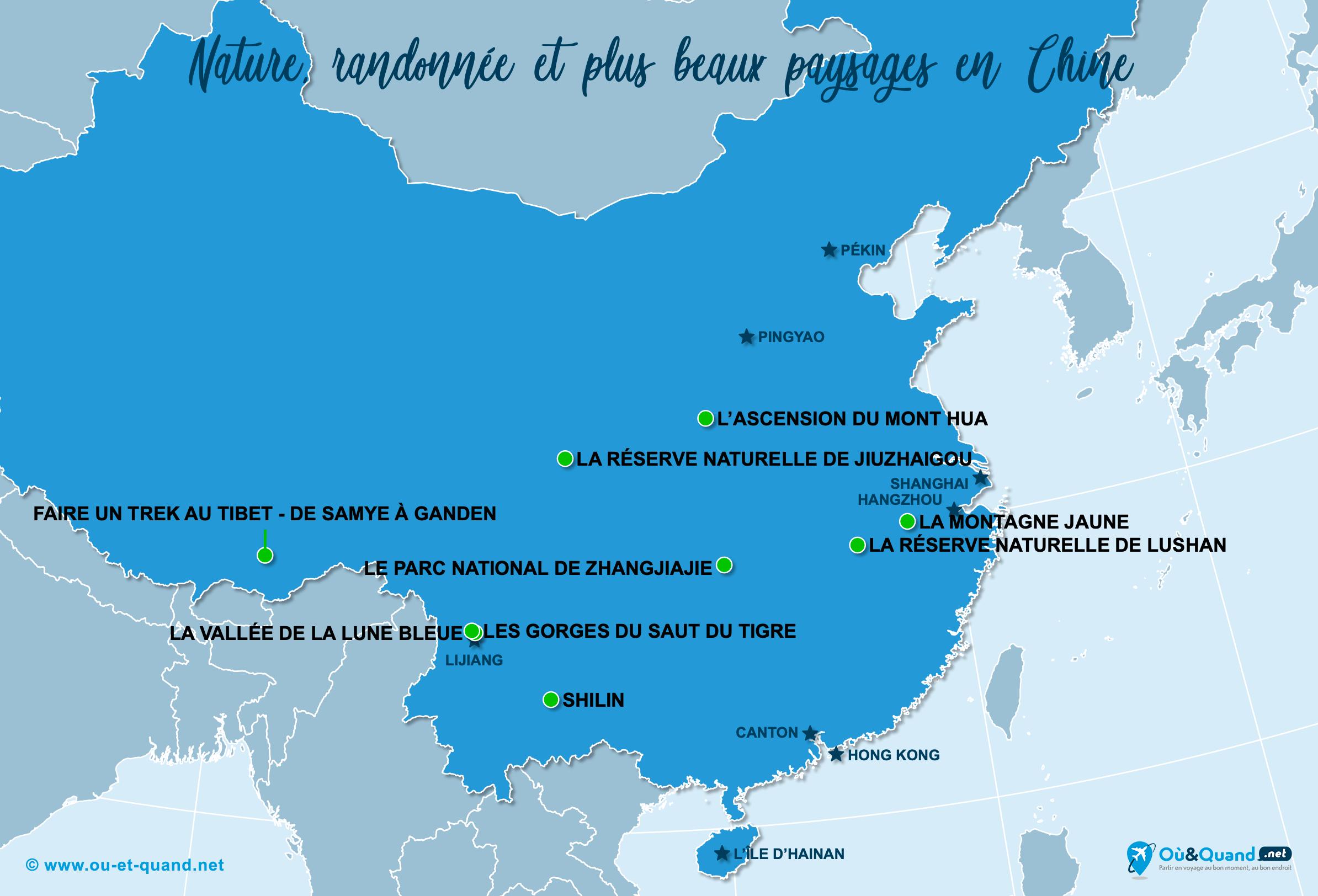 Carte Chine : Les plus beaux paysages de la Chine