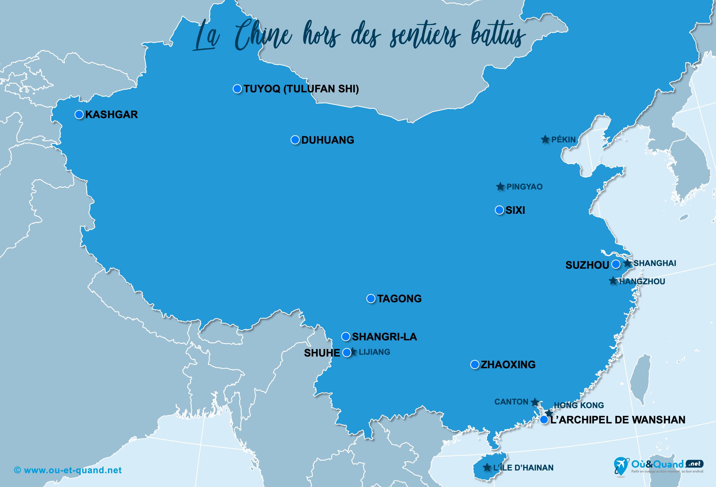 Carte Chine : La Chine hors des sentiers battus