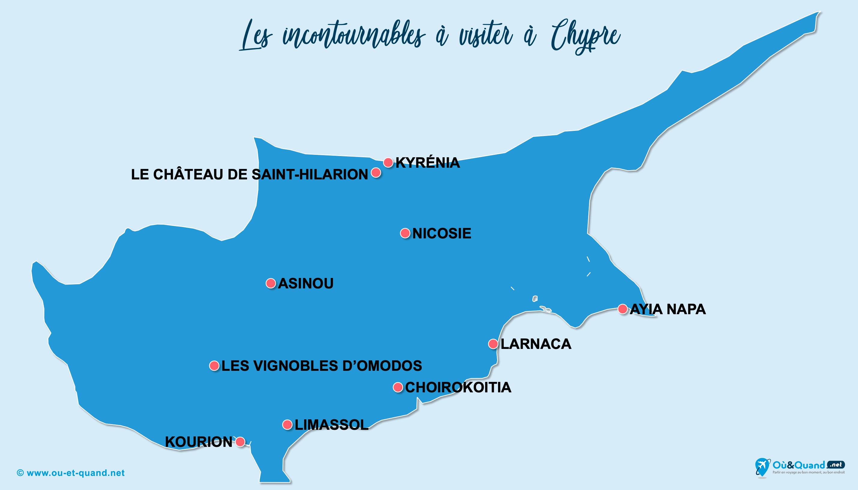 Carte Chypre : Les lieux incontournables à Chypre