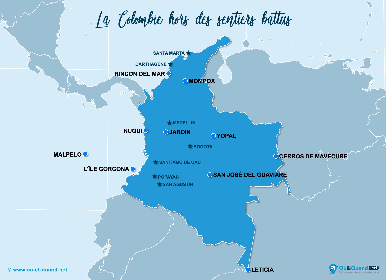 Carte Colombie : La Colombie hors des sentiers battus