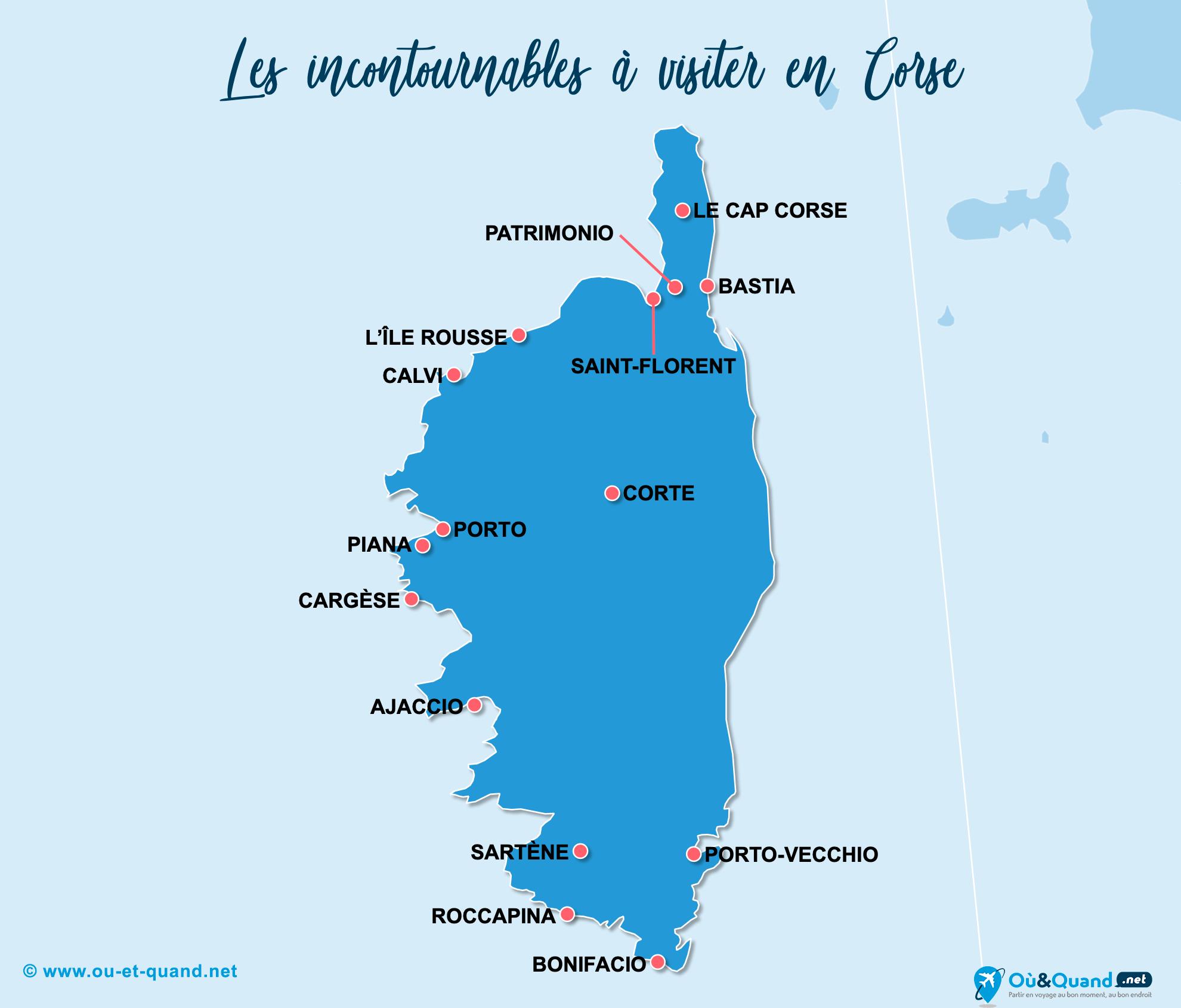 Carte Incontournables Corse