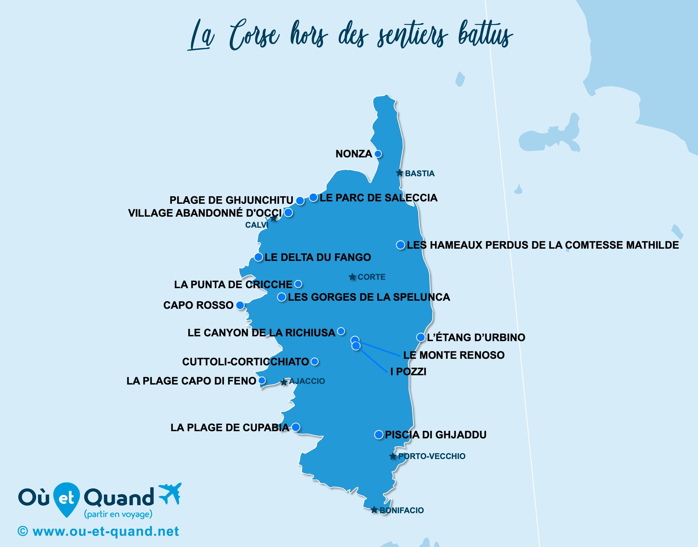 Carte Corse : La Corse hors des sentiers battus