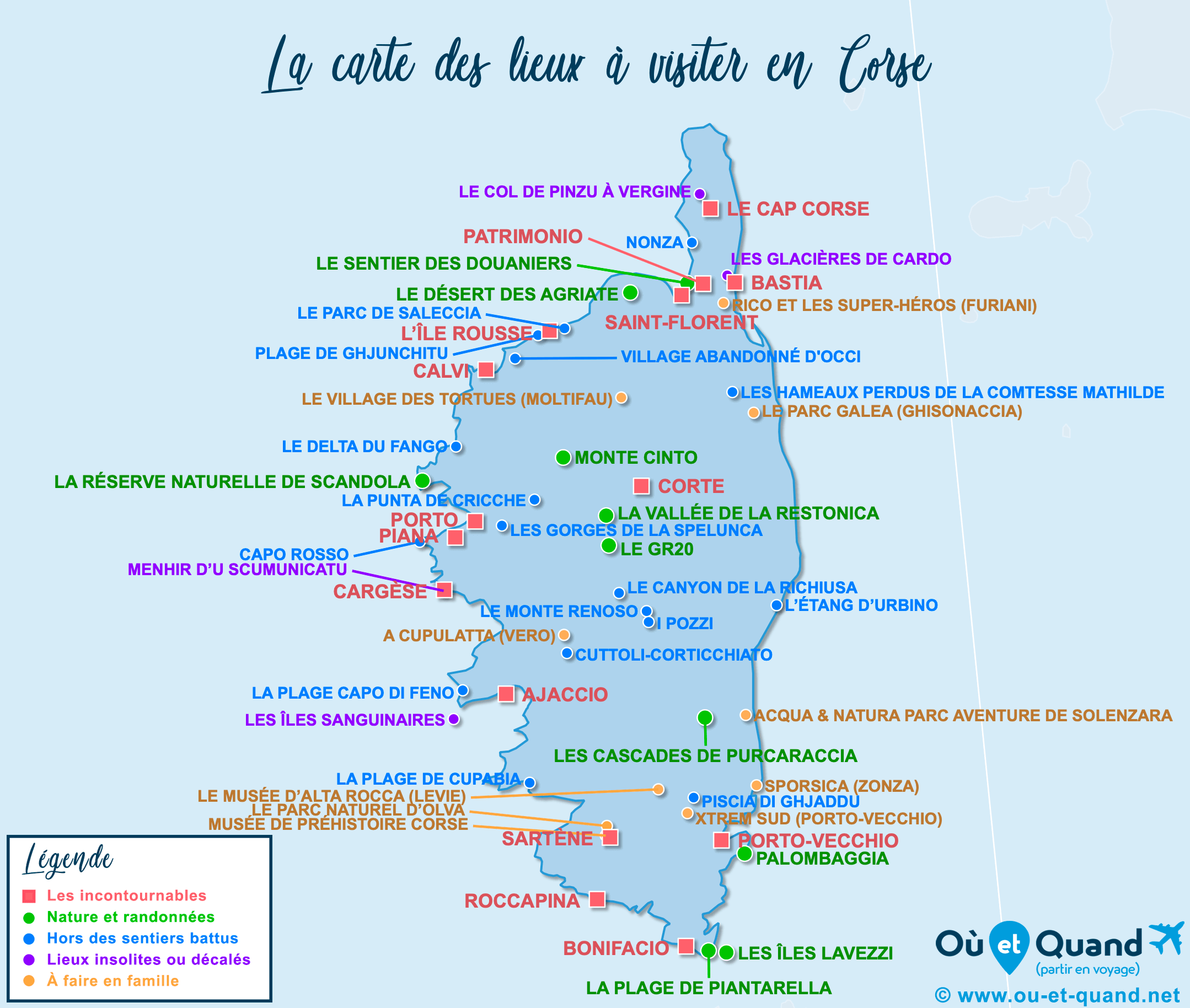 Carte Corse : tous les lieux à visiter lors de votre voyage