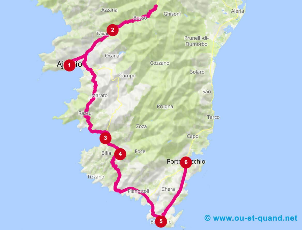 Itinéraire de 1 semaine en Corse du Sud