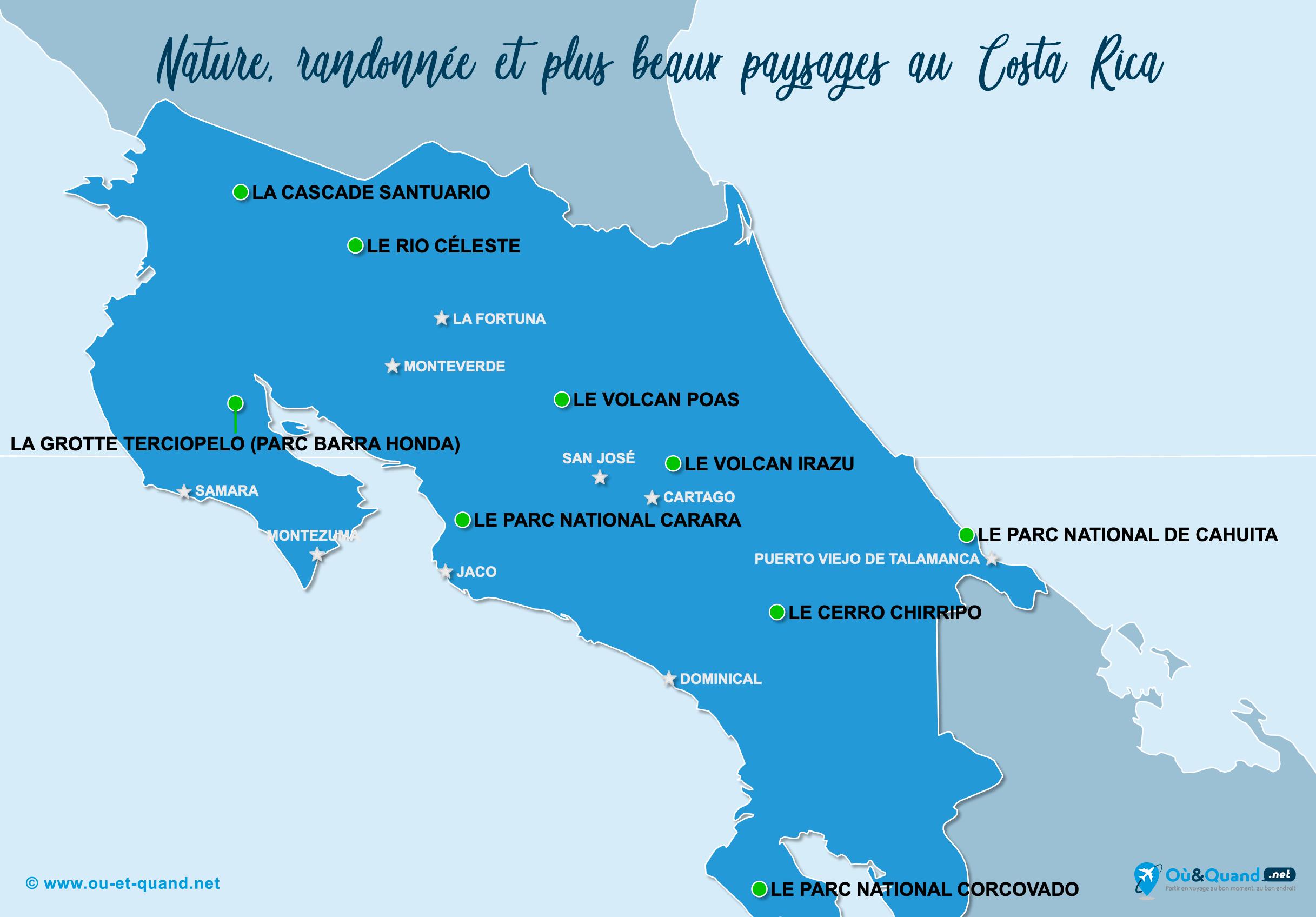 Carte Costa Rica : Les plus beaux paysages du Costa Rica