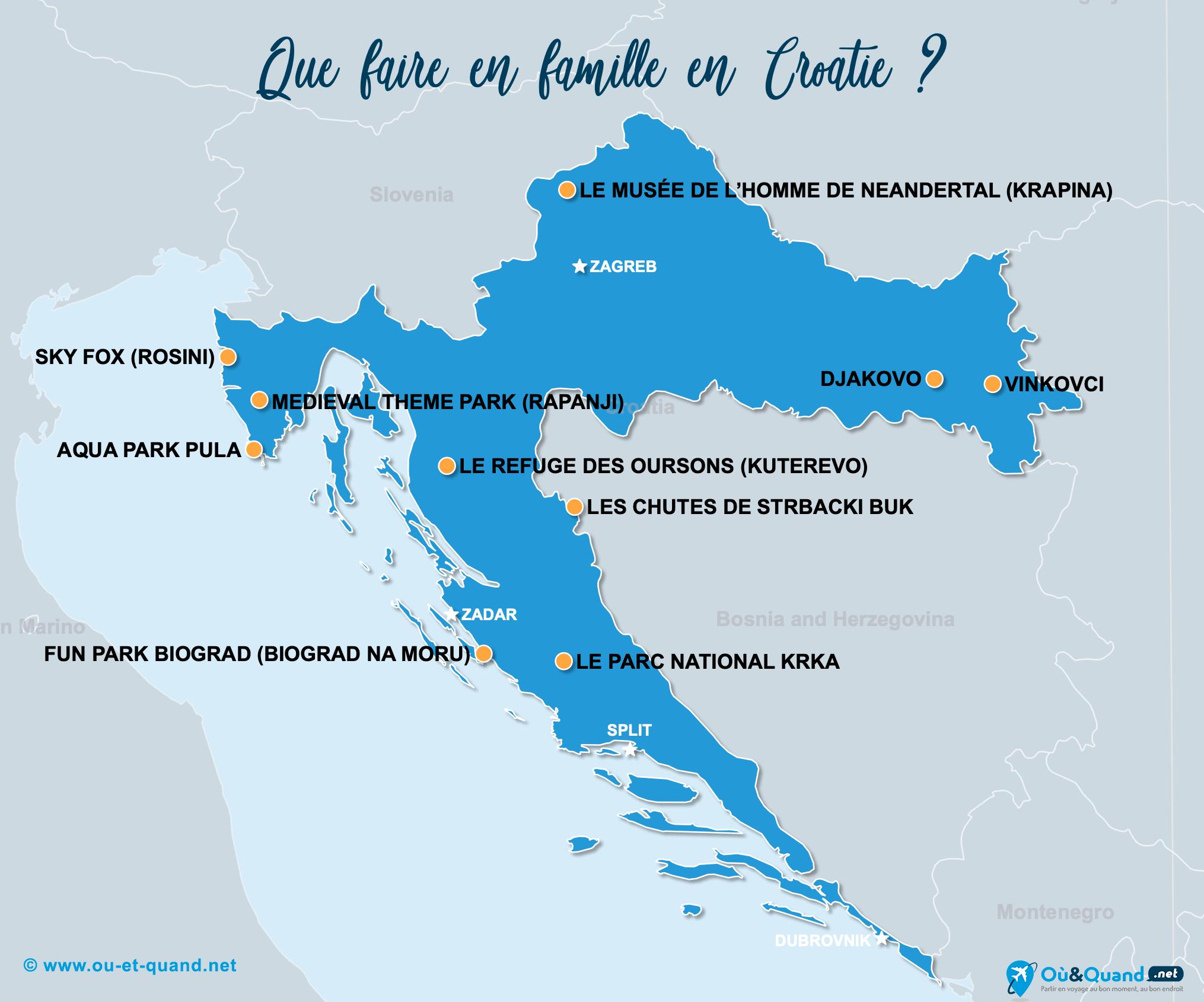 Carte Croatie : La Croatie en famille
