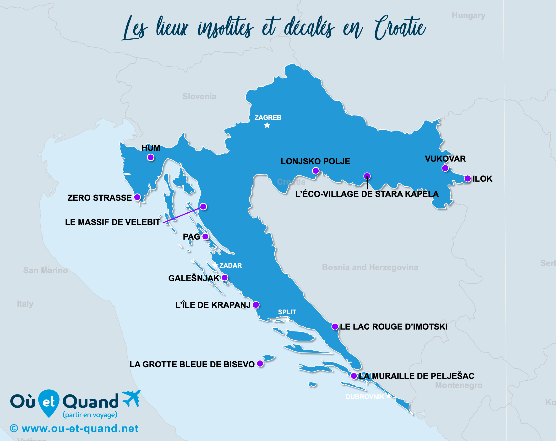 Carte Croatie : La Croatie insolite