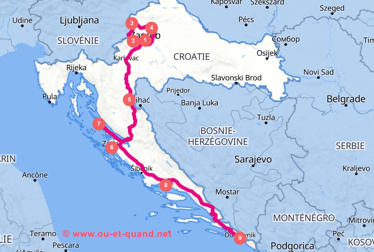 Itinéraire de 2 semaine en Croatie : de Zagreb à Dubrovnik