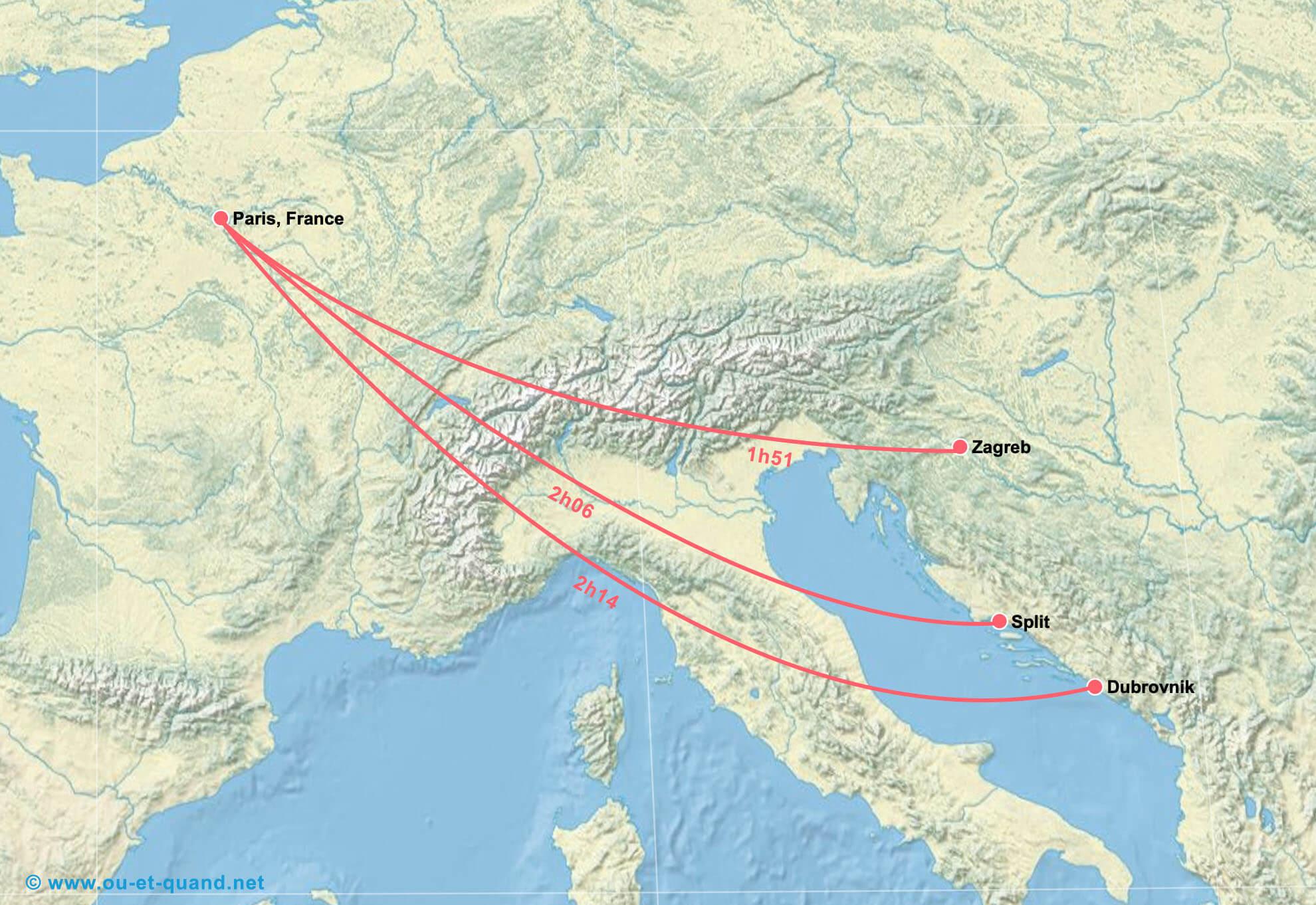 Carte de vol de Paris vers la Croatie