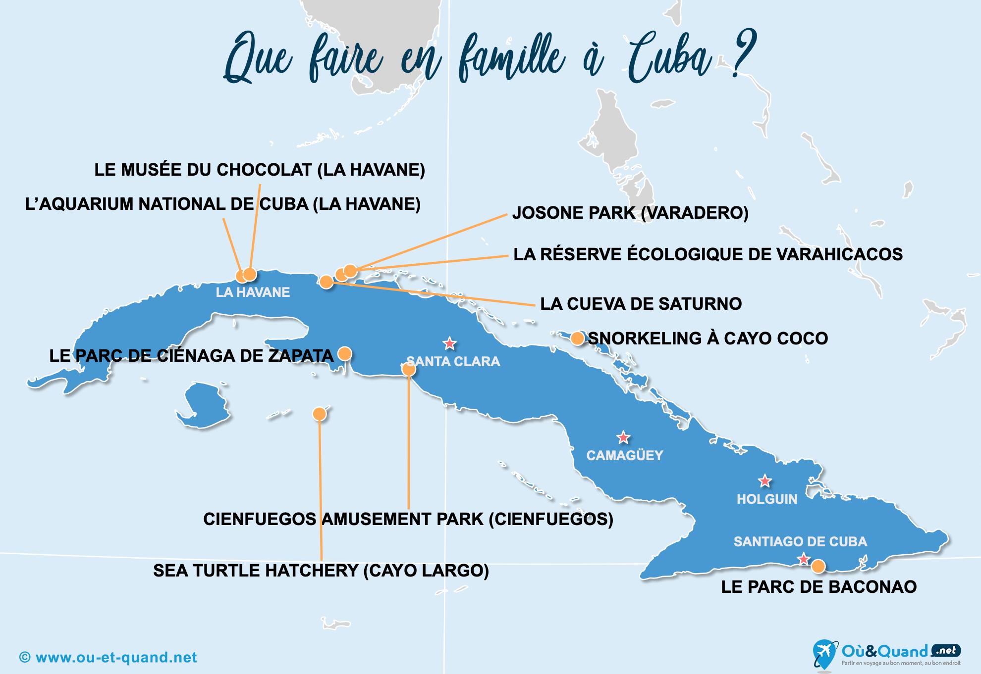 Carte Cuba : Cuba en famille