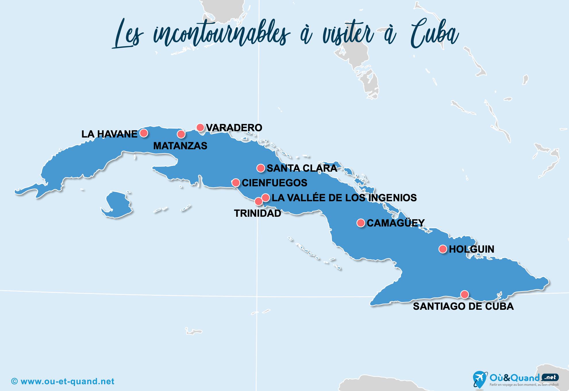 Carte Cuba : Les lieux incontournables à Cuba