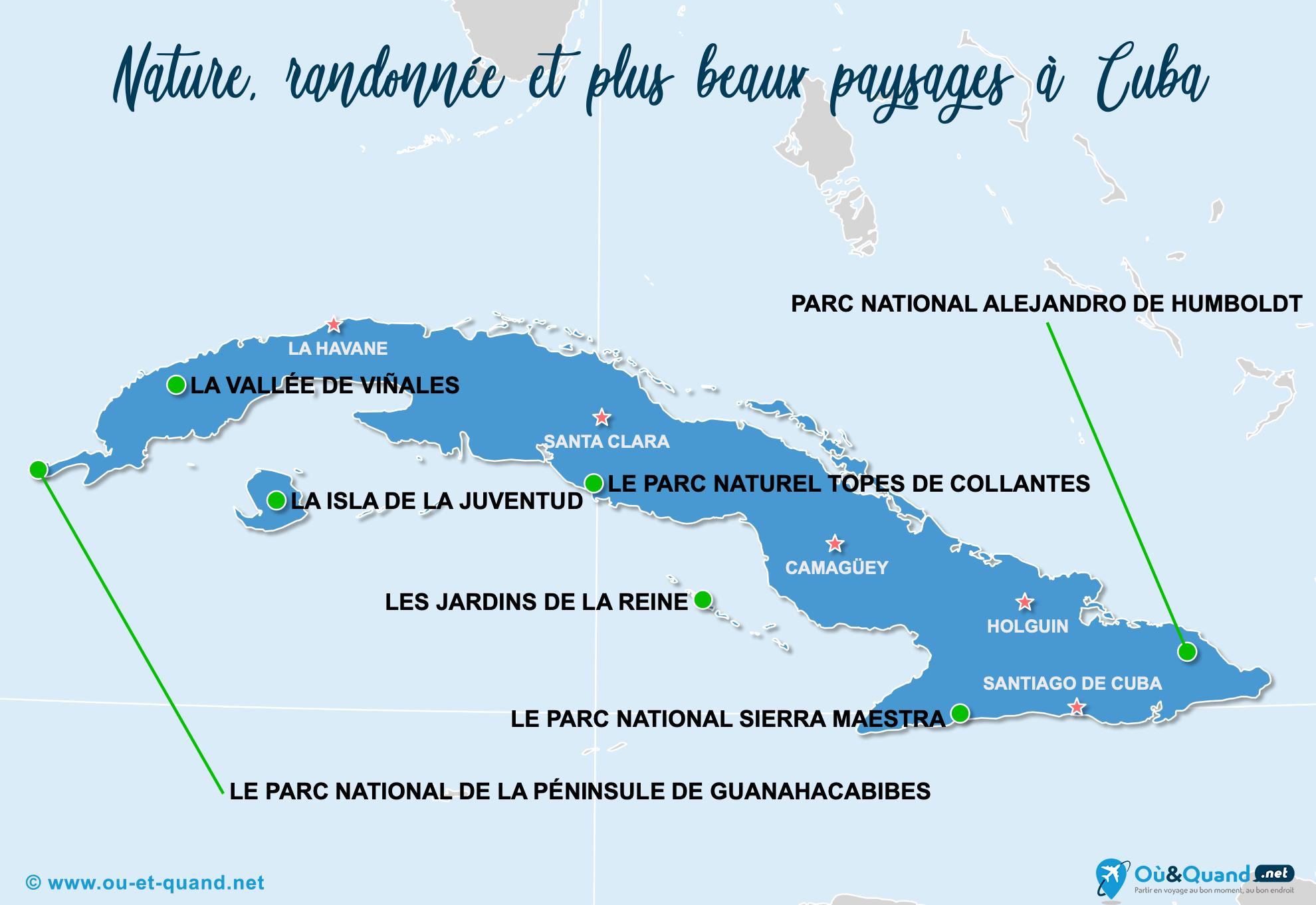Carte Cuba : Les plus beaux paysages de Cuba