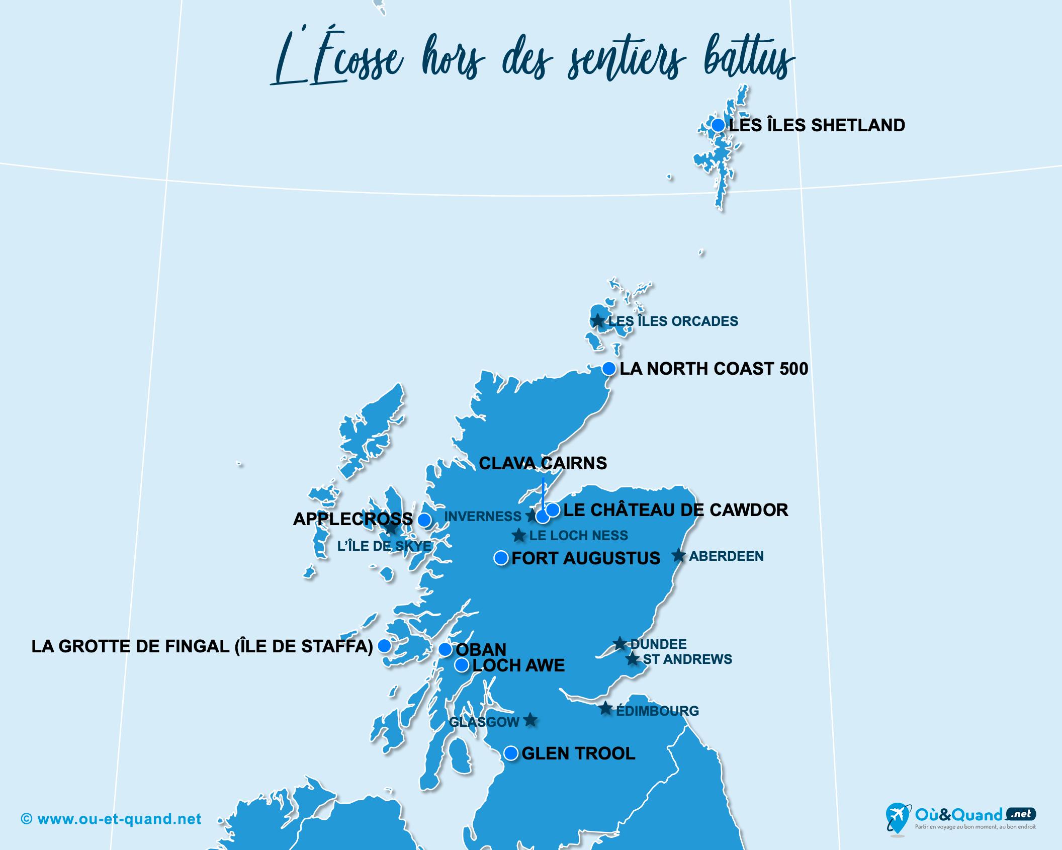 Carte Écosse : L'Écosse hors des sentiers battus