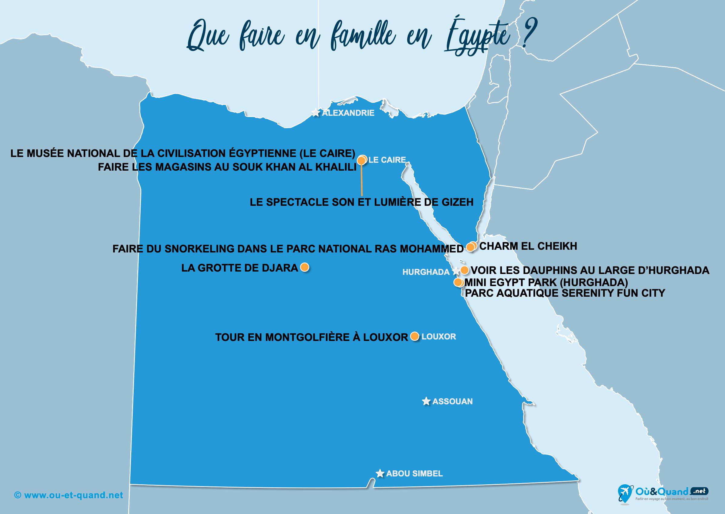 Carte Égypte : L'Égypte en famille