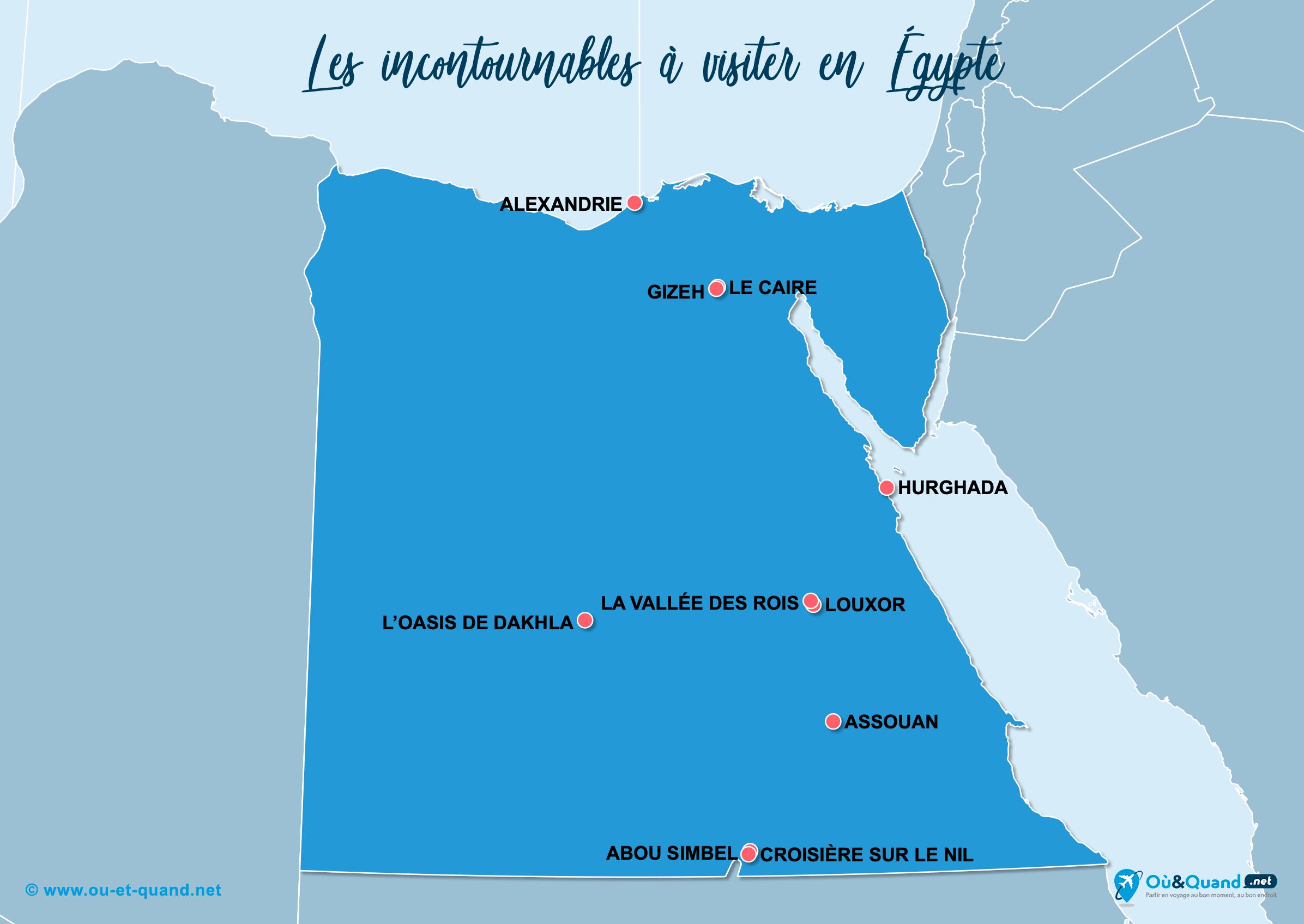 Carte Égypte : Les lieux incontournables en Égypte