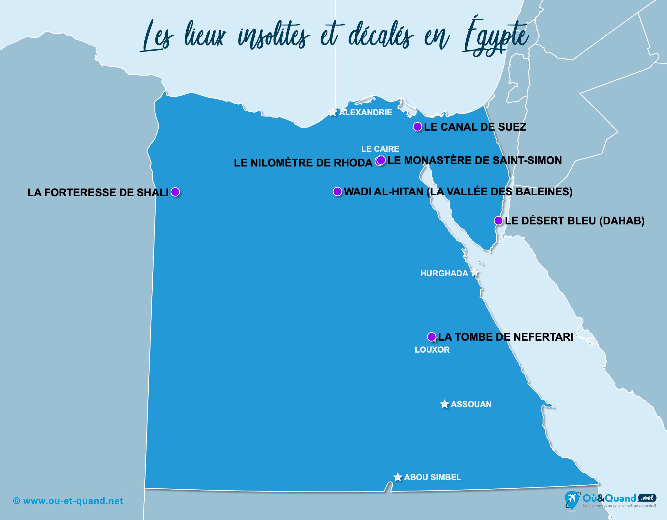 Carte Égypte : L'Égypte insolite