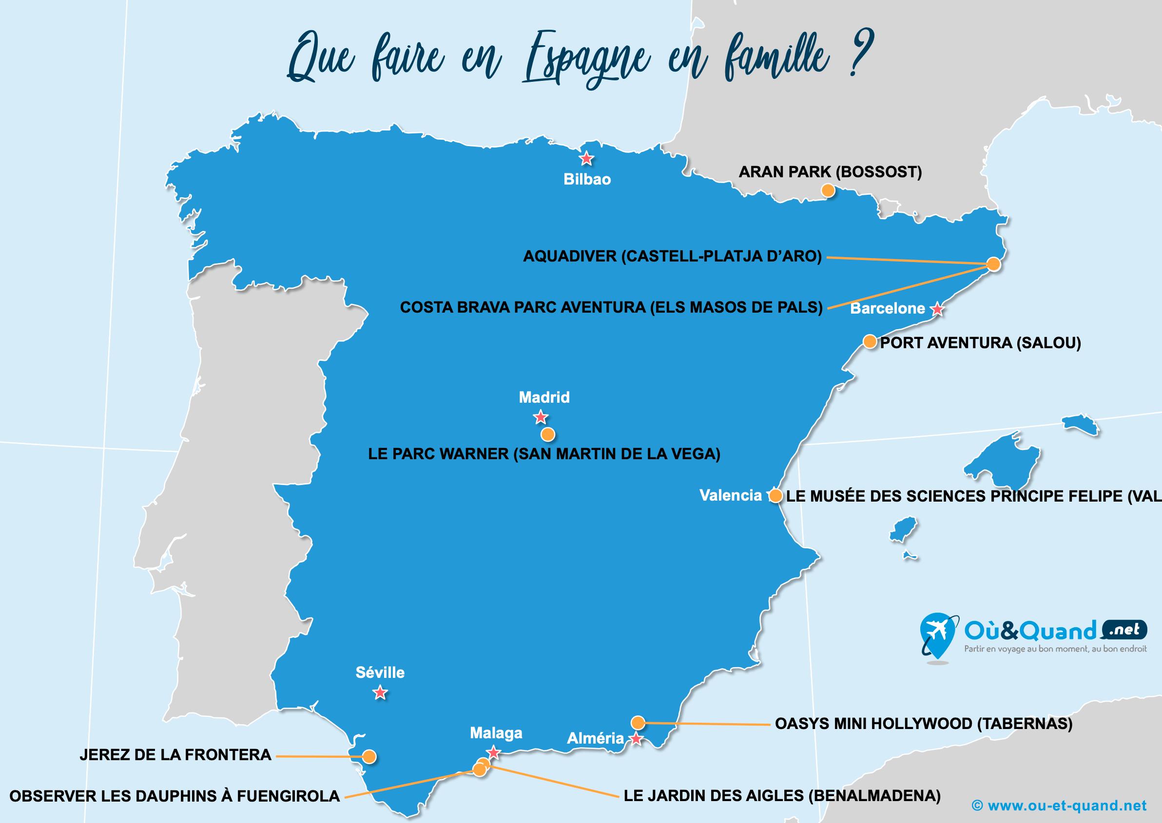 Carte Espagne : L'Espagne en famille