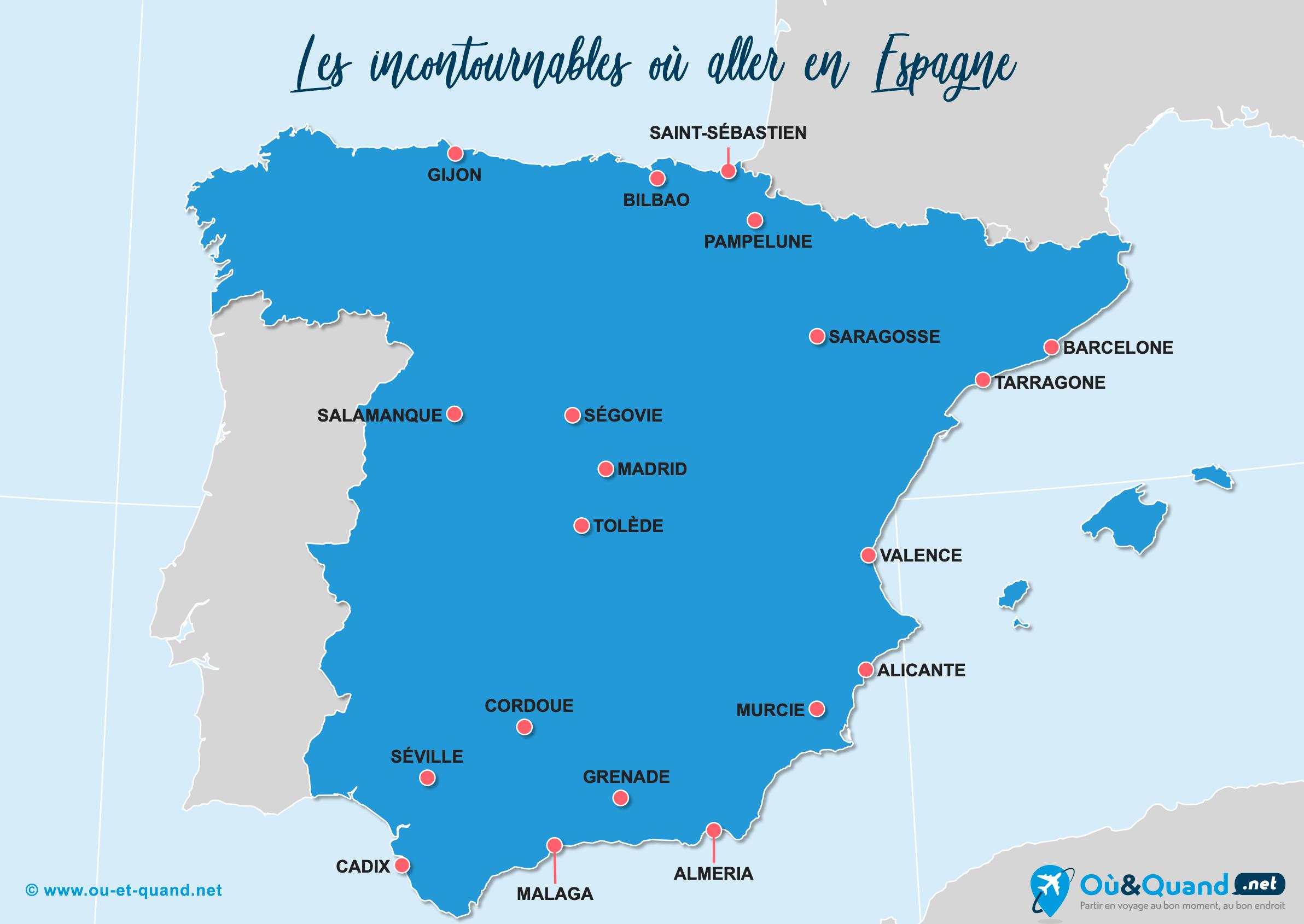 Carte Espagne : Les lieux incontournables en Espagne