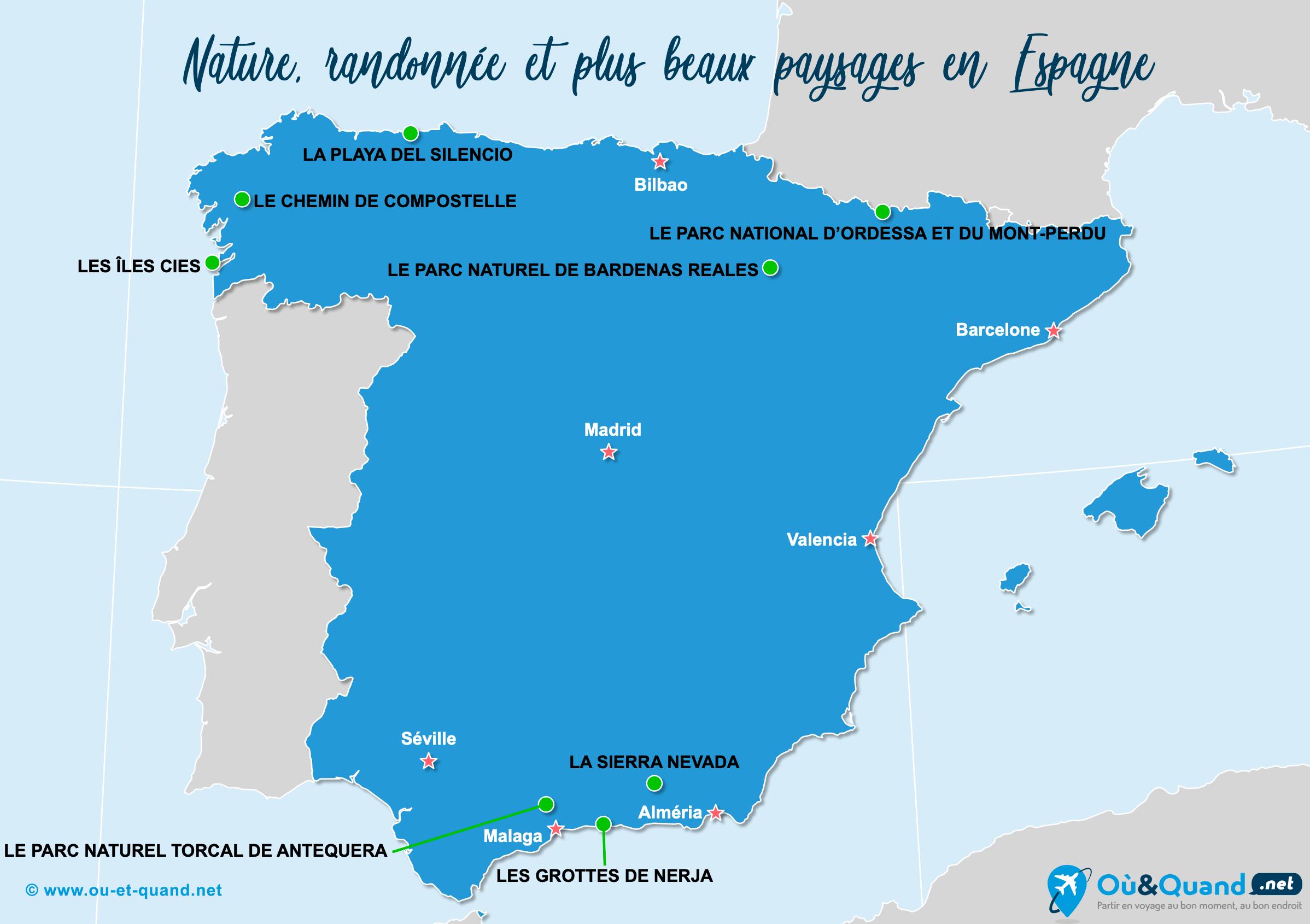 Carte Espagne : Les plus beaux paysages de l'Espagne