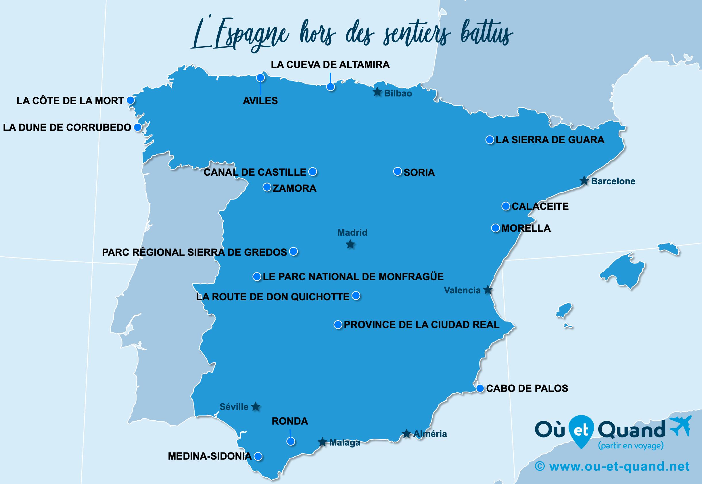 Carte Espagne : L'Espagne hors des sentiers battus