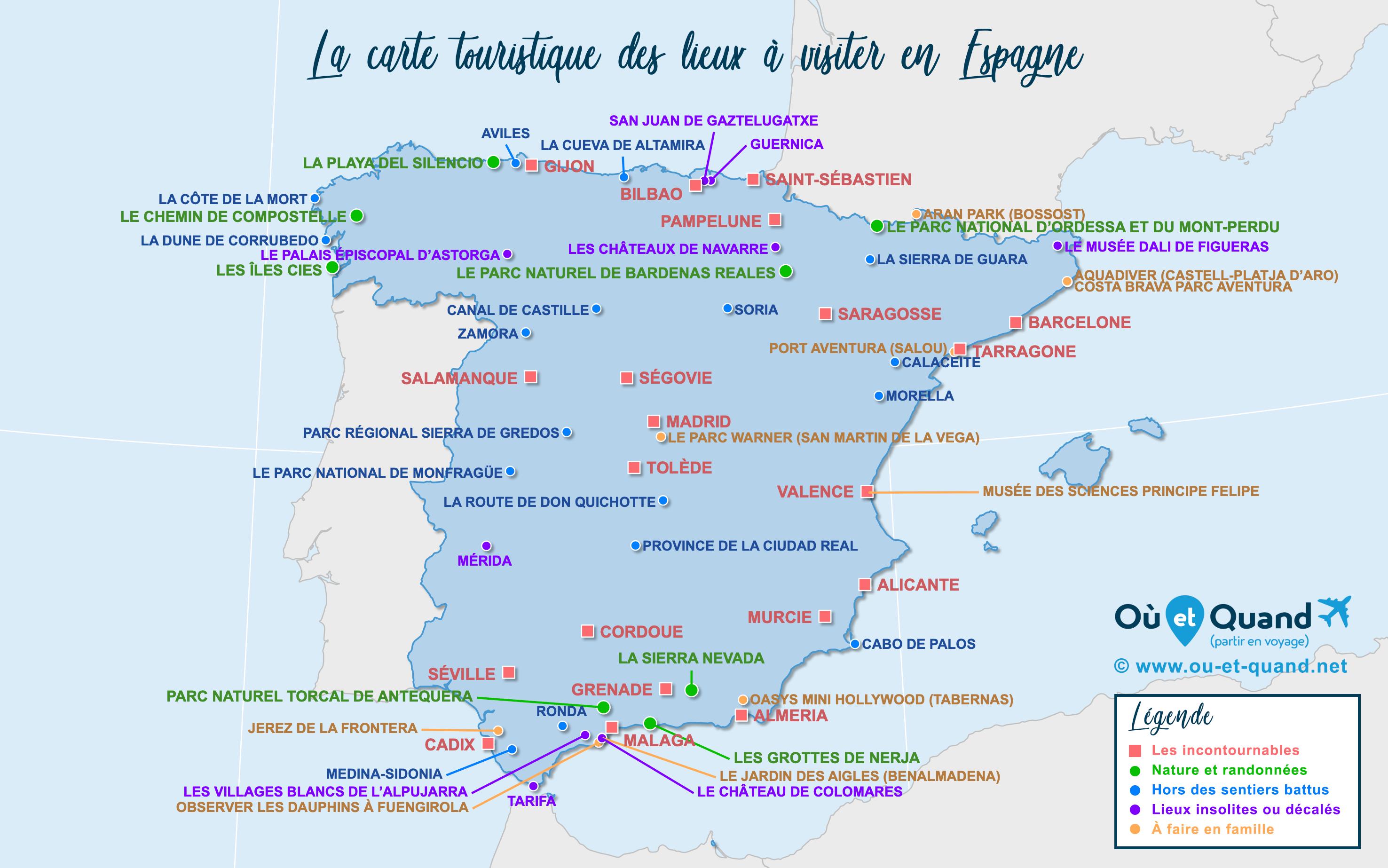 Carte Espagne : tous les lieux à visiter lors de votre voyage