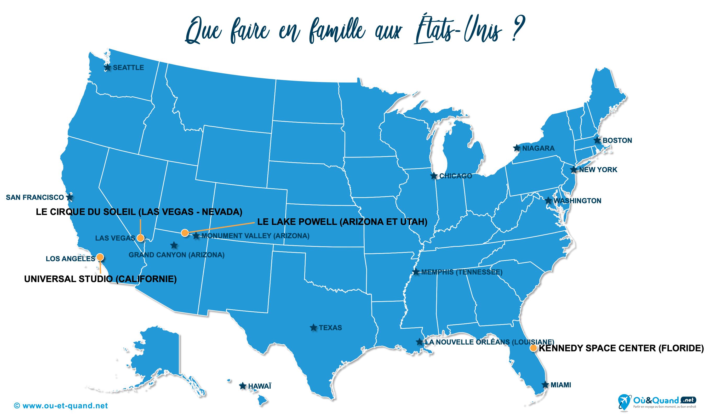 Carte États-Unis (USA) : Les États-Unis en famille