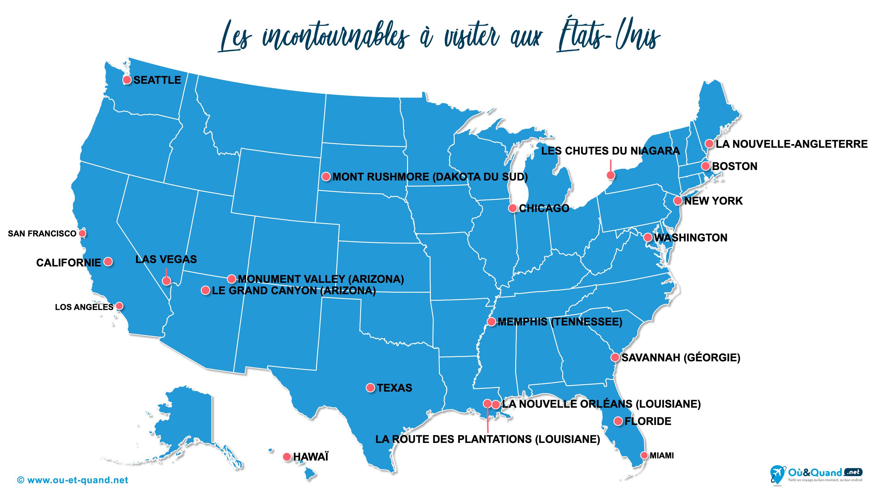 Carte États-Unis (USA) : Les lieux incontournables aux États-Unis