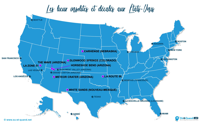 Carte États-Unis (USA) : Les États-Unis insolite