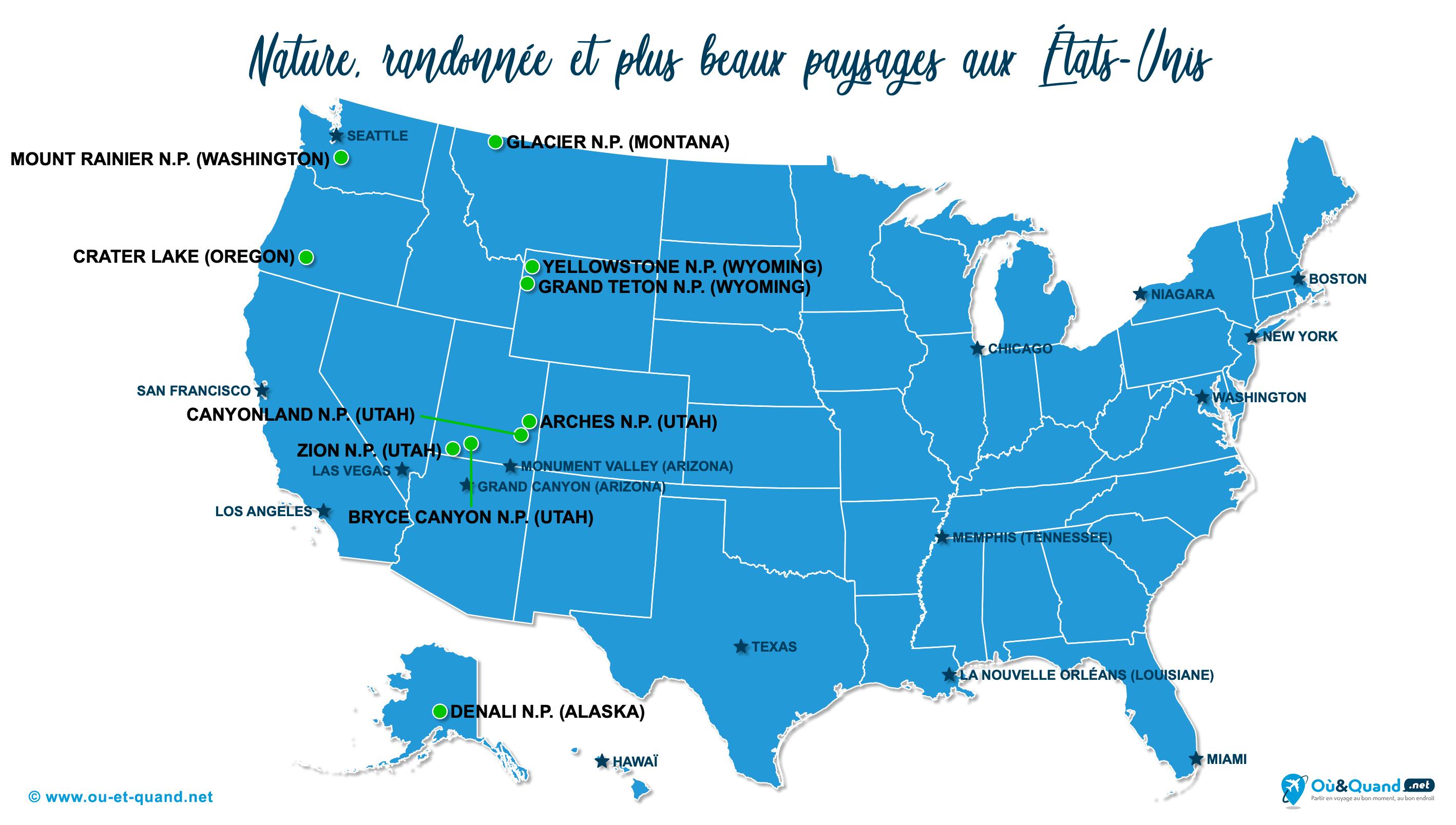 Carte États-Unis (USA) : Les plus beaux paysages des États-Unis