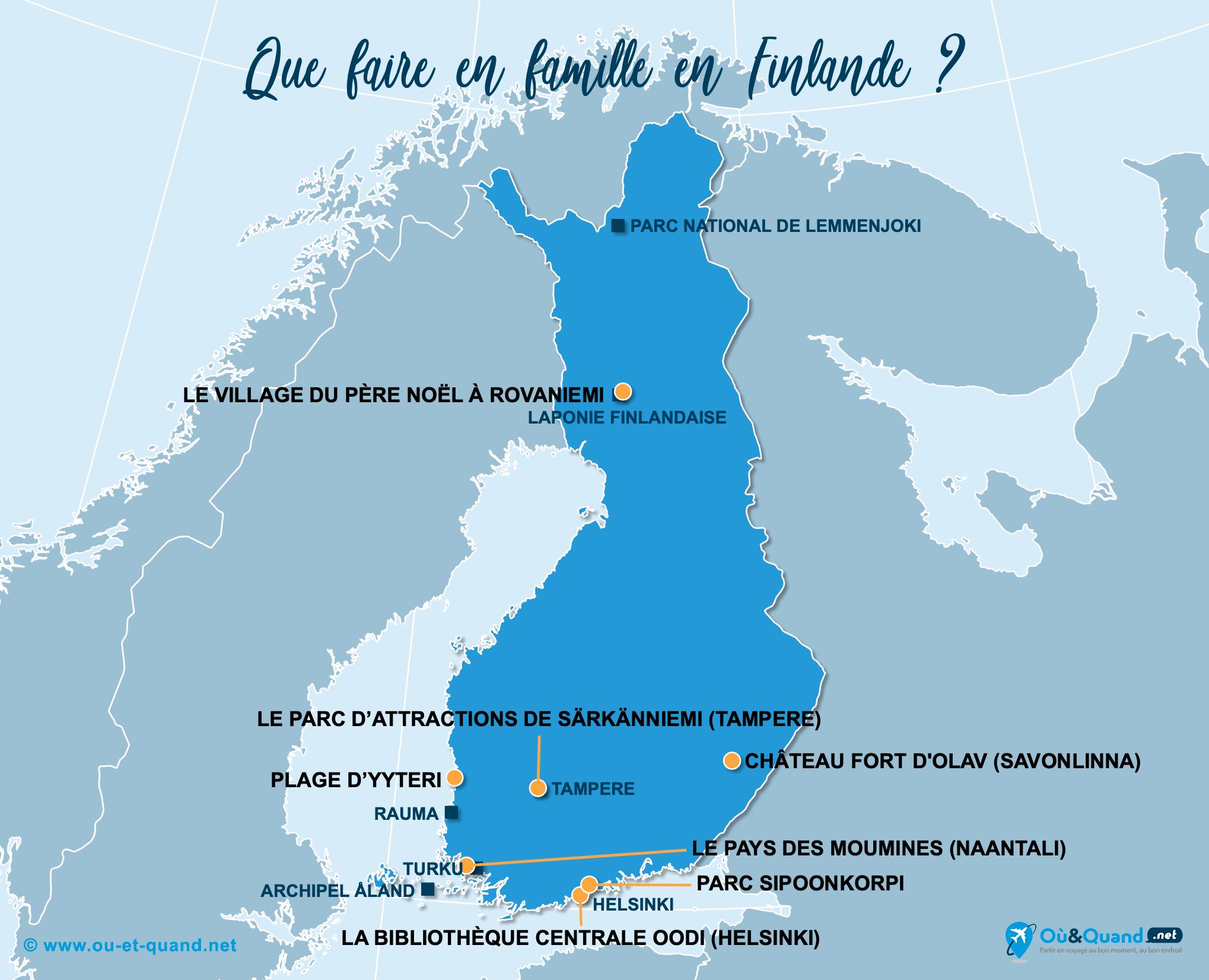 Carte Finlande : La Finlande en famille