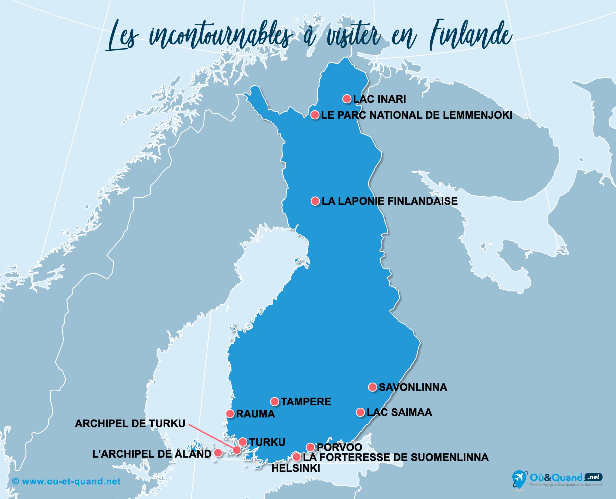 Carte Finlande : Les lieux incontournables en Finlande
