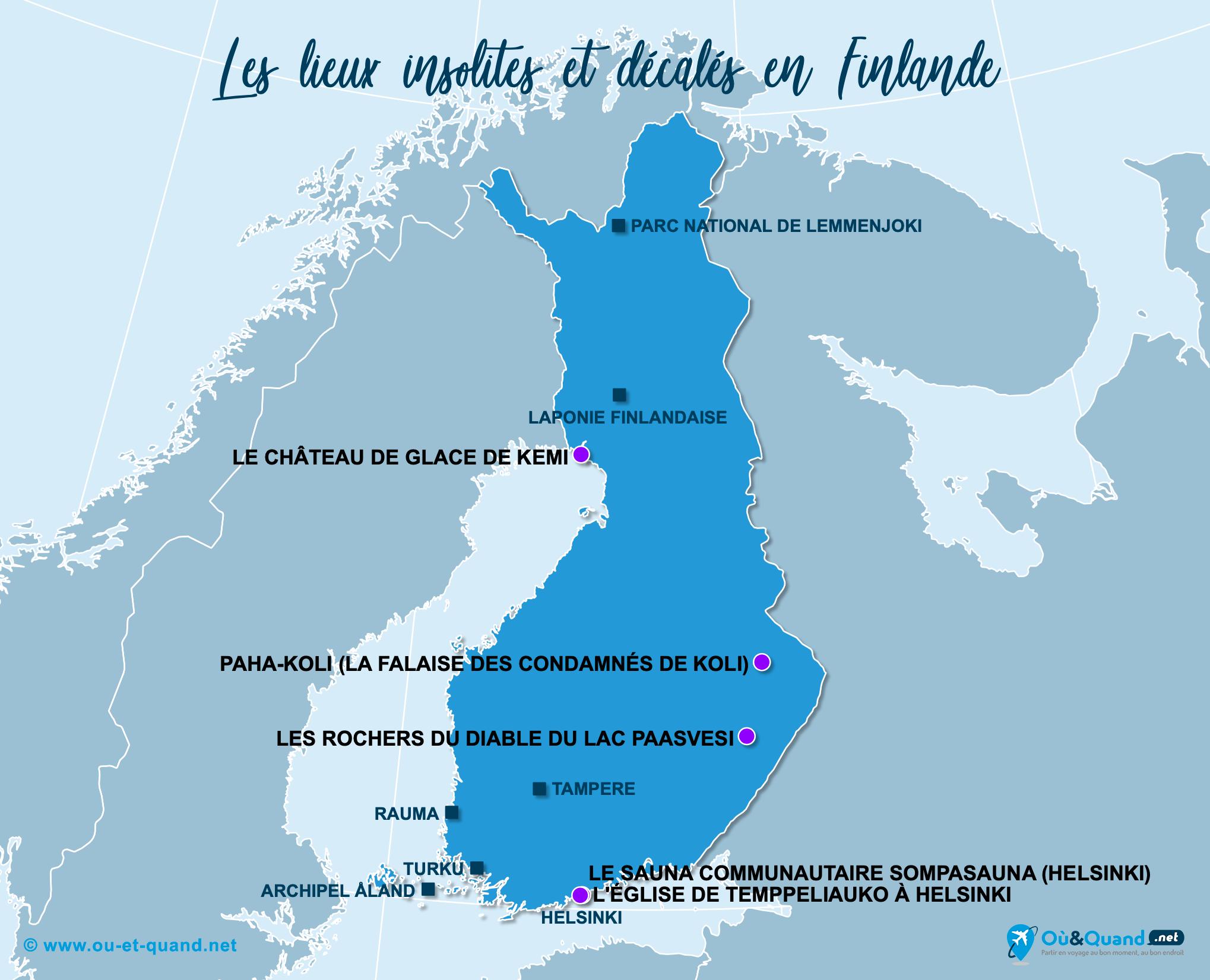 Carte Finlande : La Finlande insolite