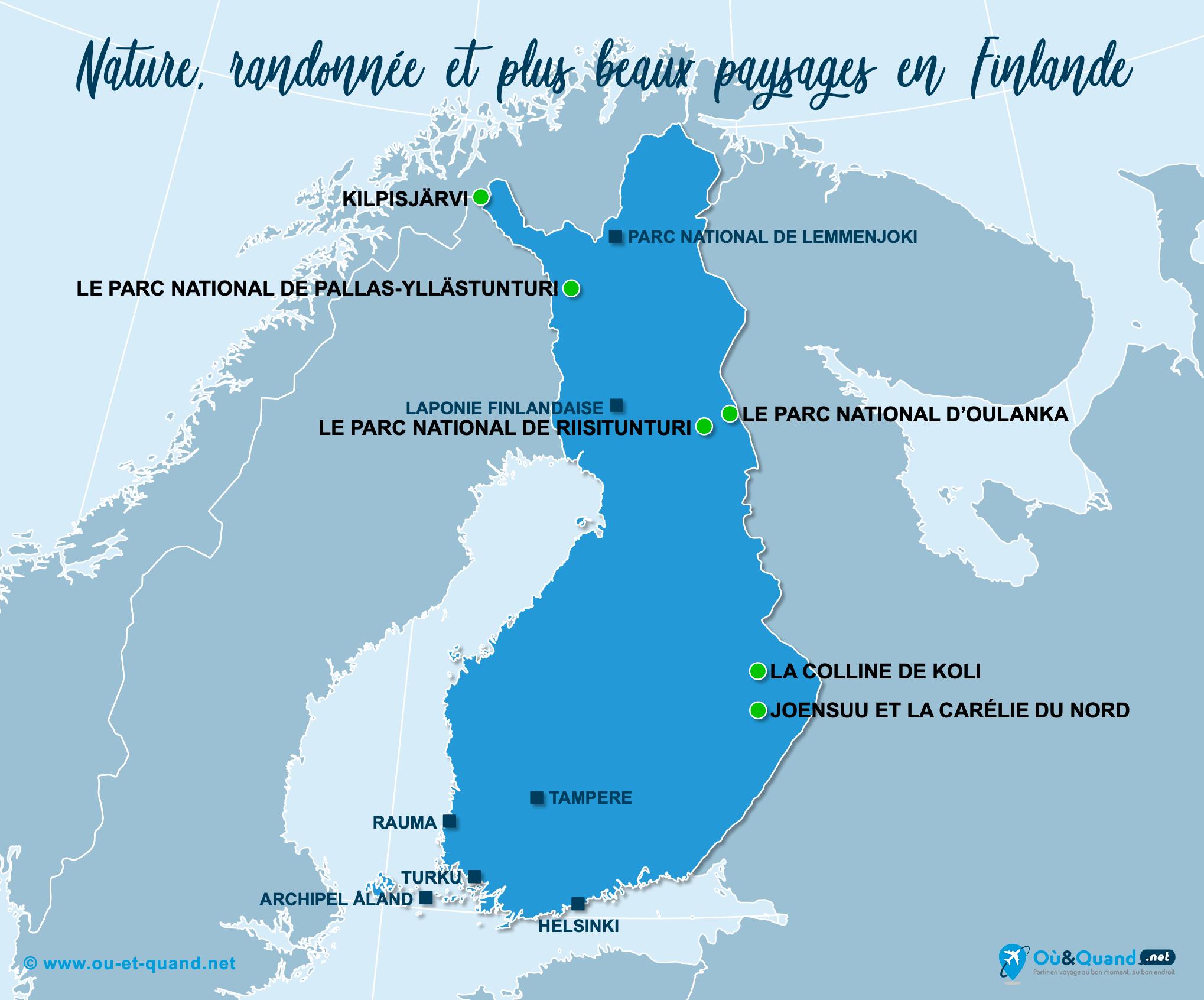 Carte Finlande : Les plus beaux paysages de la Finlande