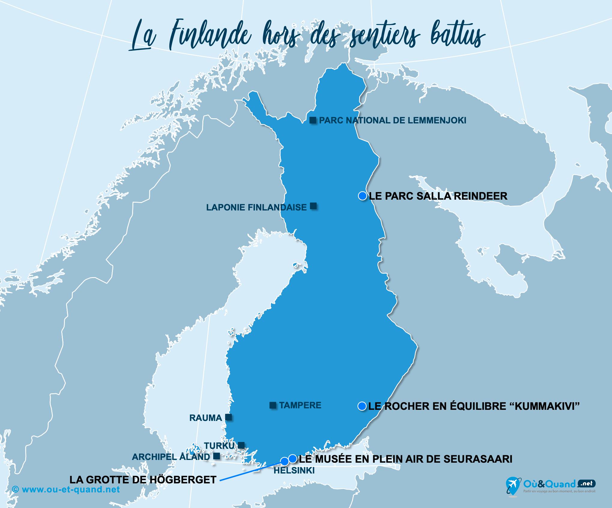 Carte Finlande : La Finlande hors des sentiers battus