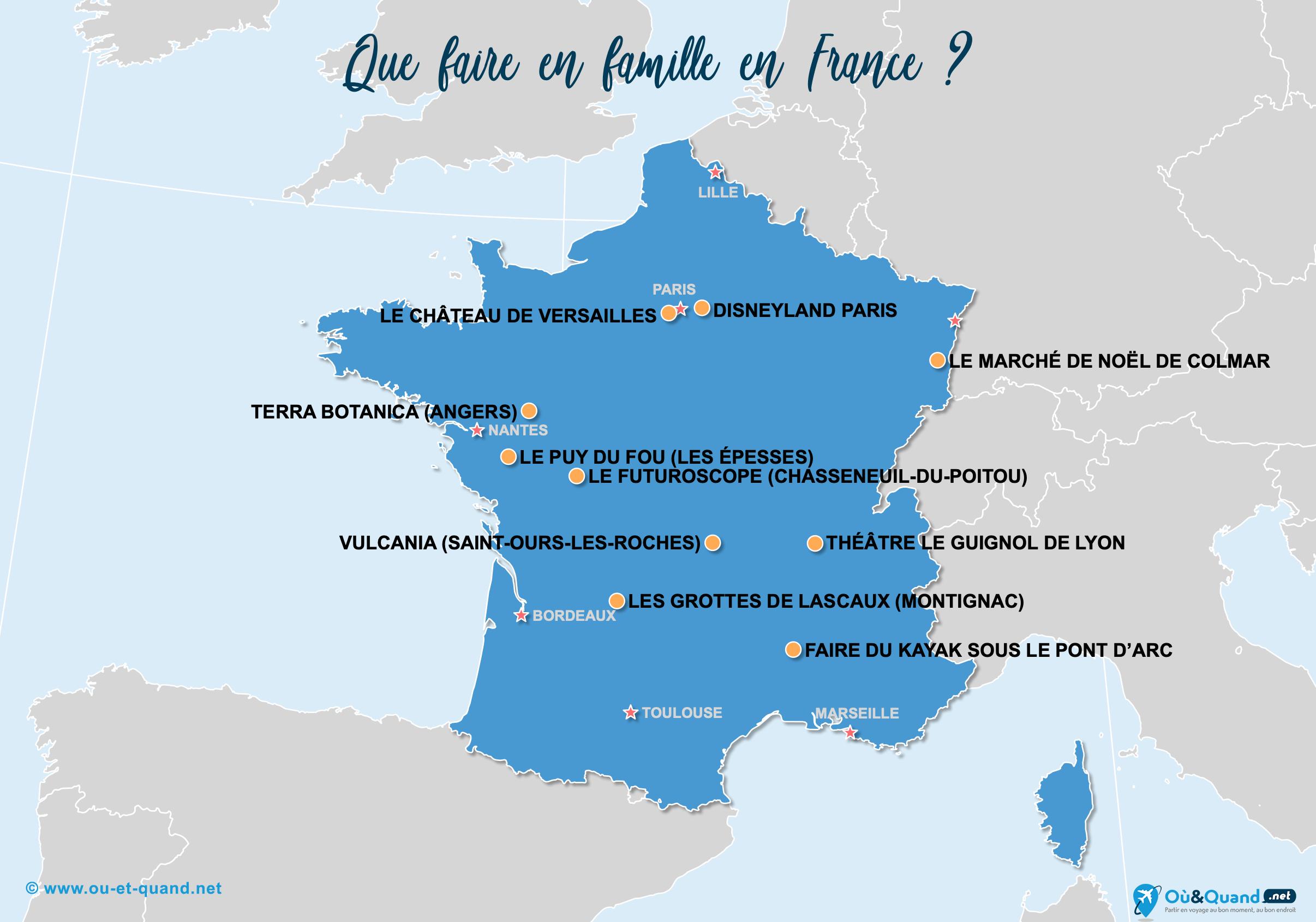 Carte France : La France en famille
