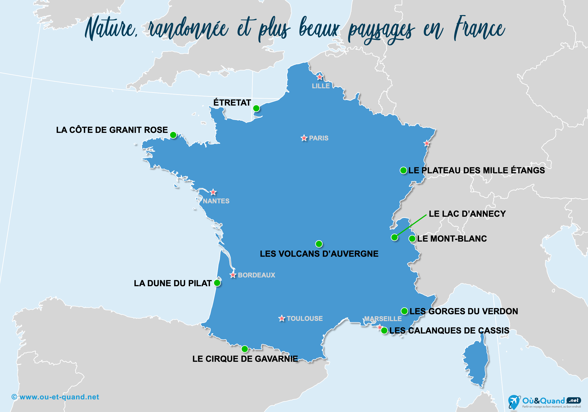 Carte France : Les plus beaux paysages de la France