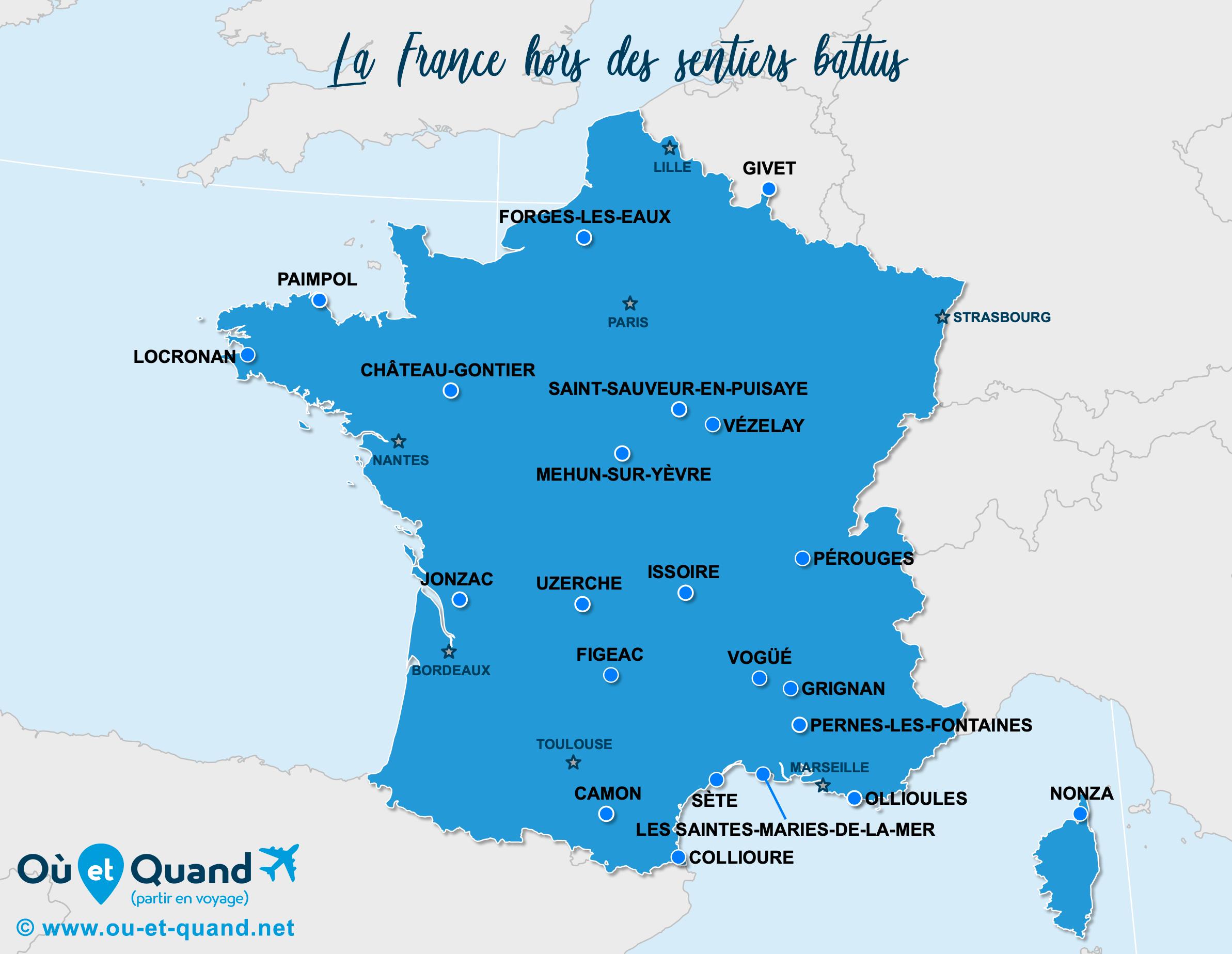 Carte France : La France hors des sentiers battus