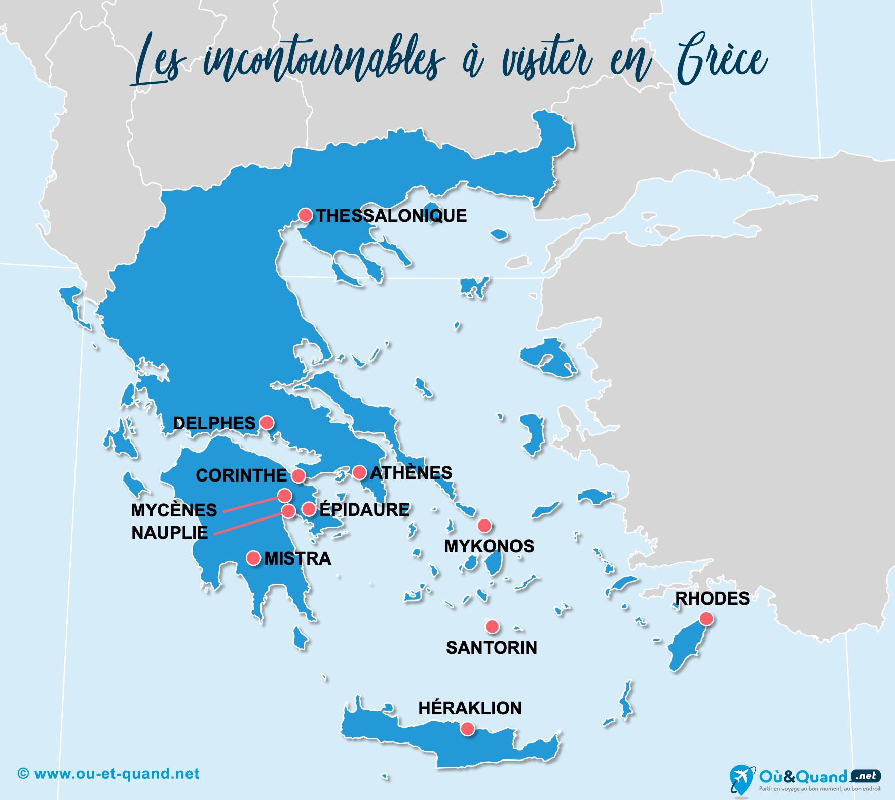 Carte Incontournables Grèce