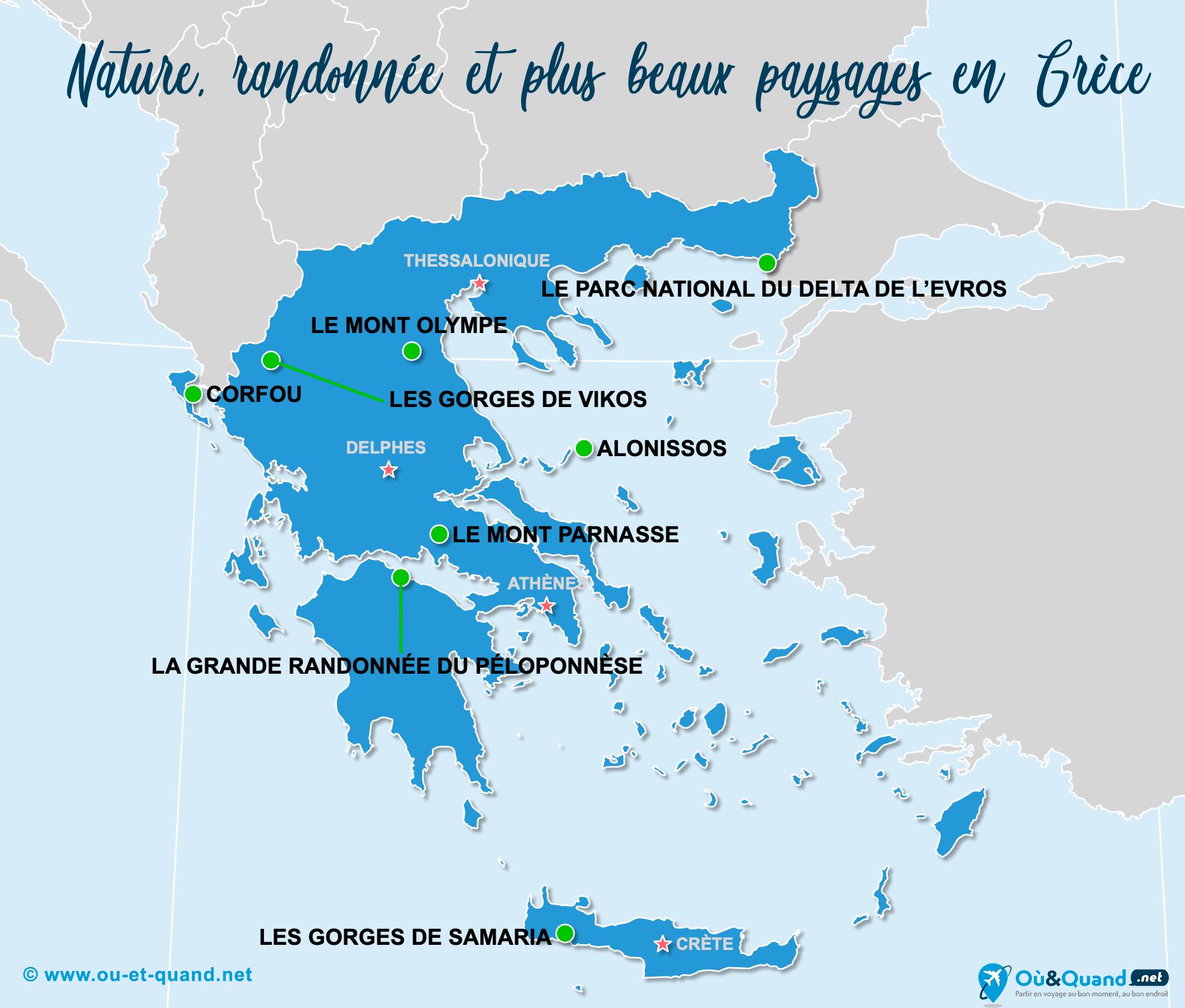 Carte Grèce : Les plus beaux paysages de la Grèce