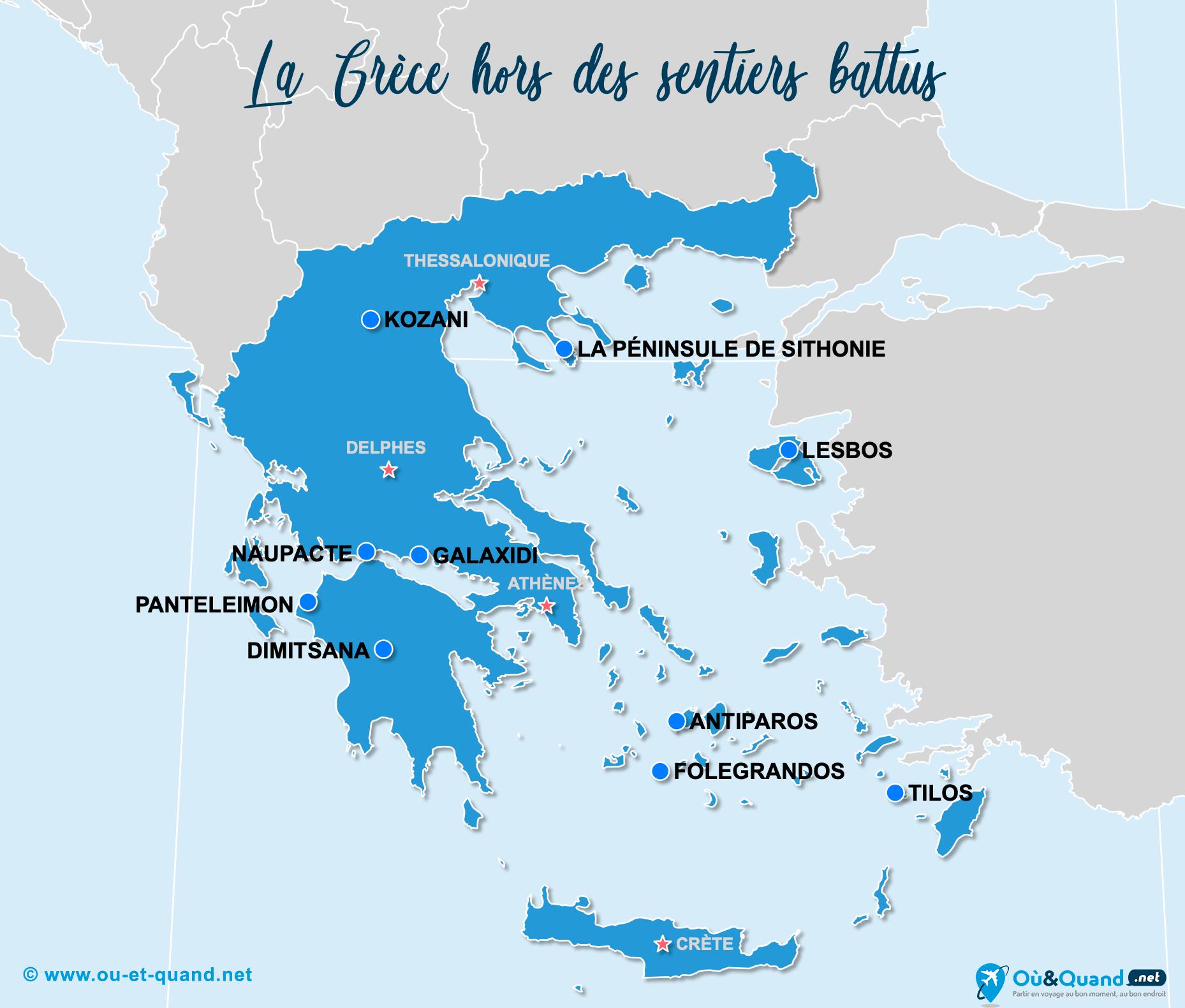Carte Grèce : La Grèce hors des sentiers battus