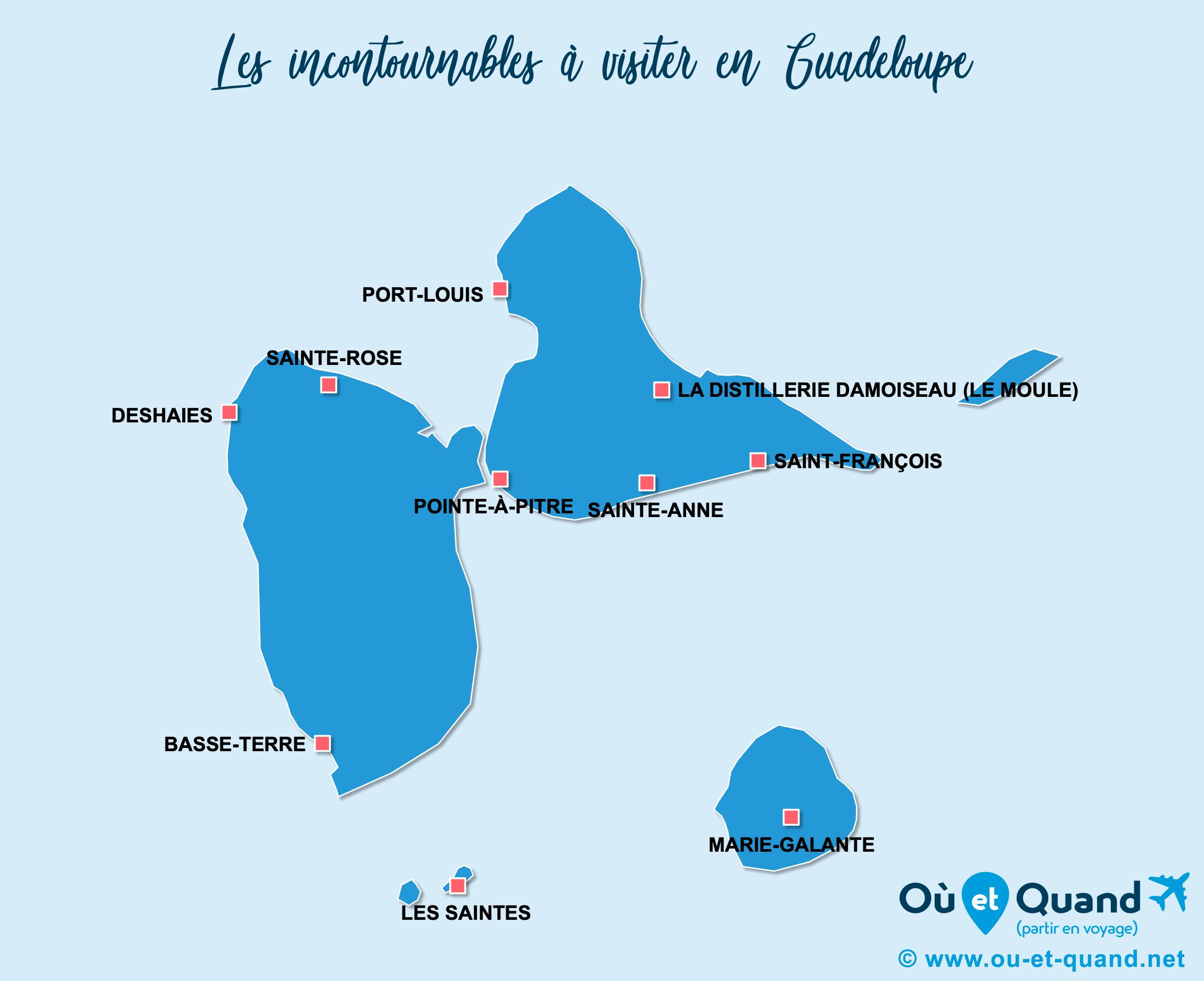 Carte Guadeloupe : Les lieux incontournables en Guadeloupe