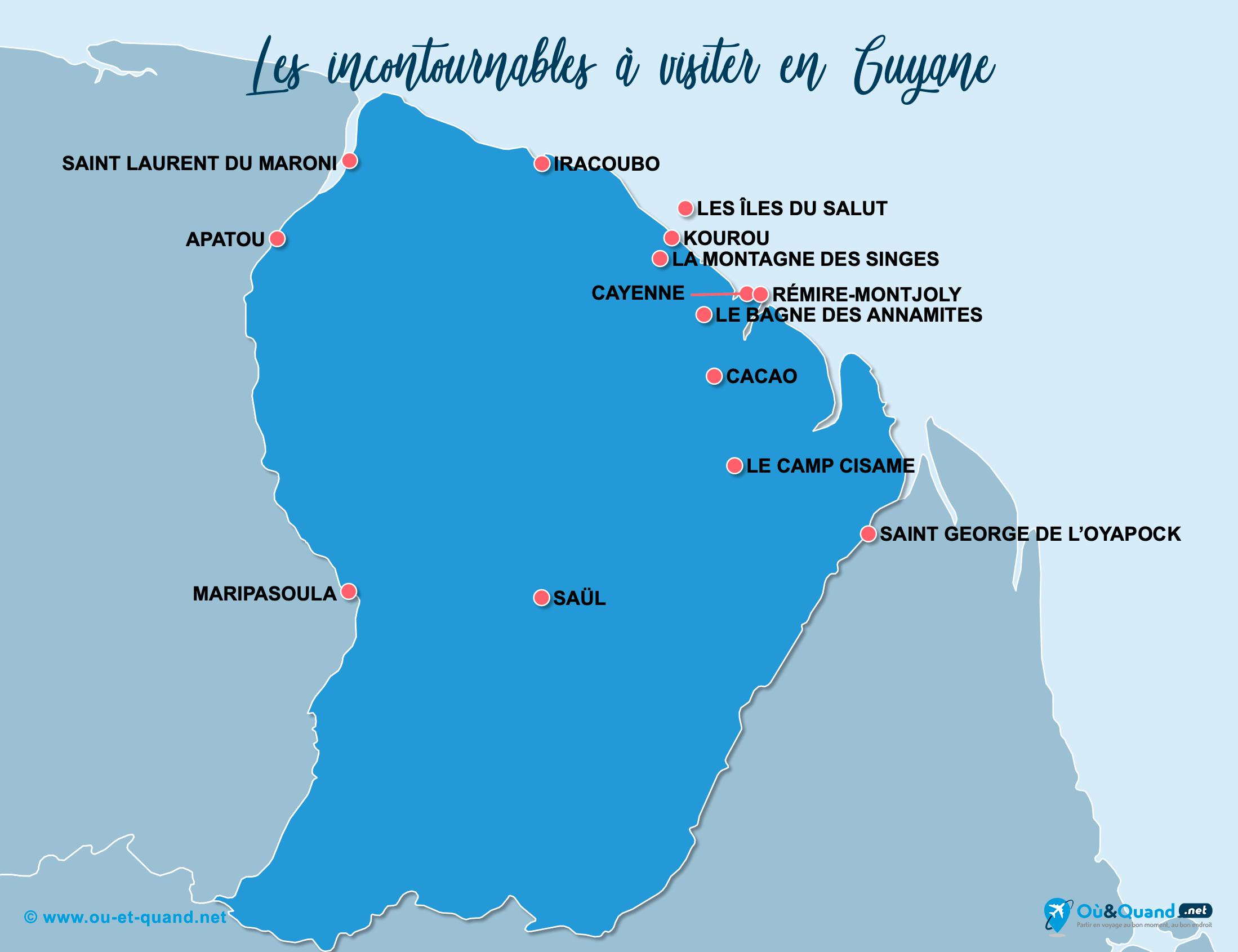 Carte Guyane Française : Les lieux incontournables en Guyane