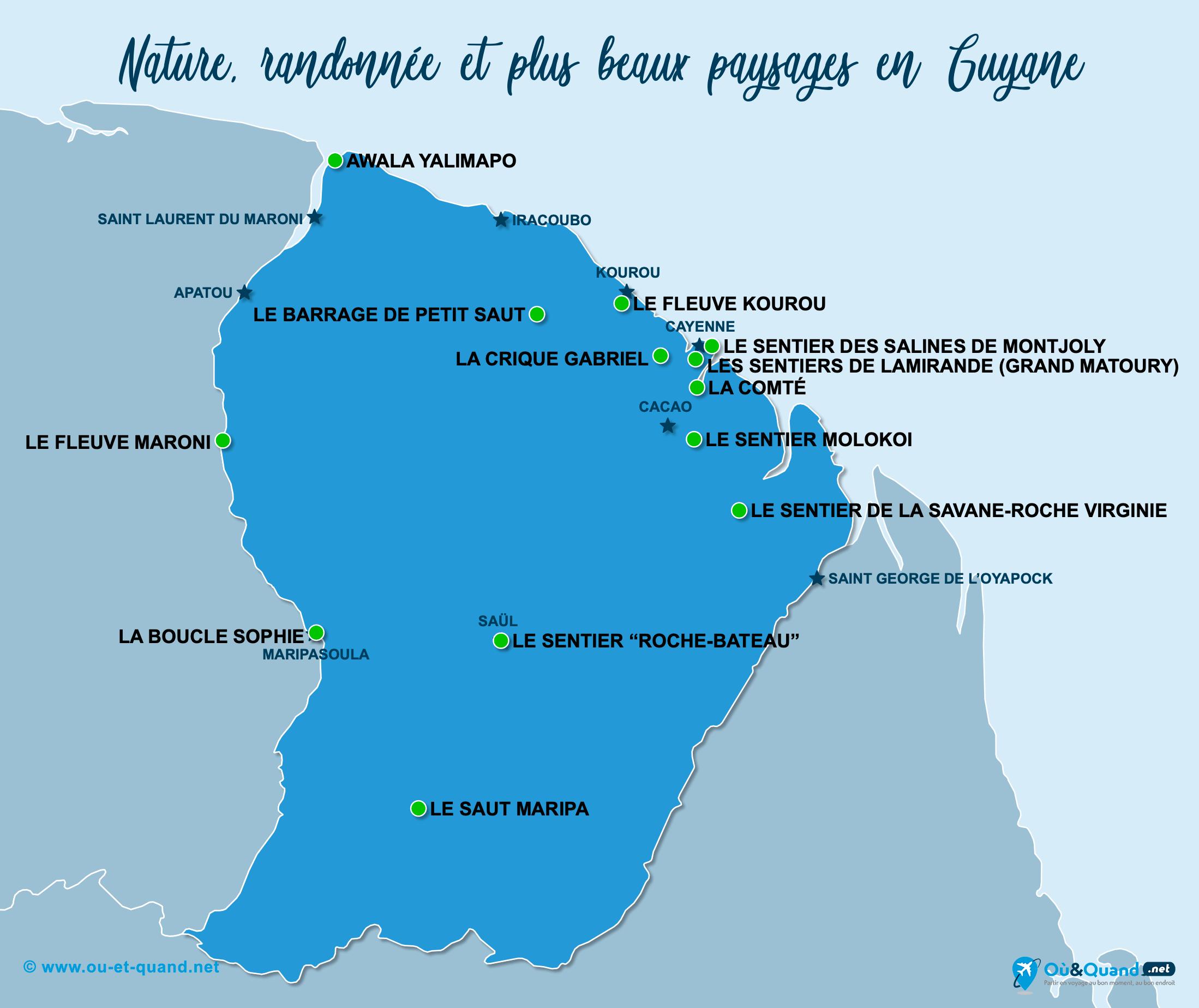 Carte Guyane Française : Les plus beaux paysages de la Guyane