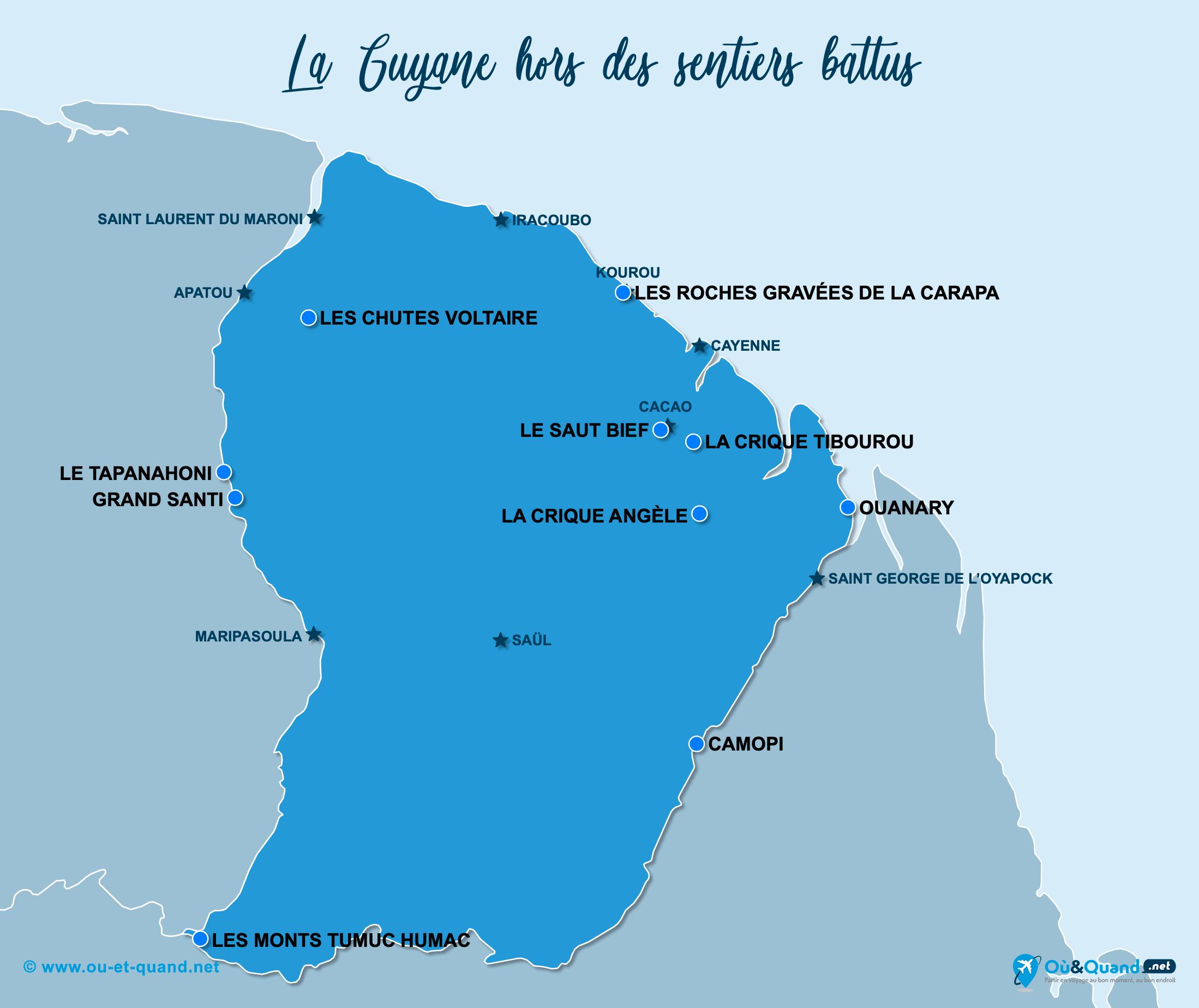 Carte Guyane Française : La Guyane hors des sentiers battus