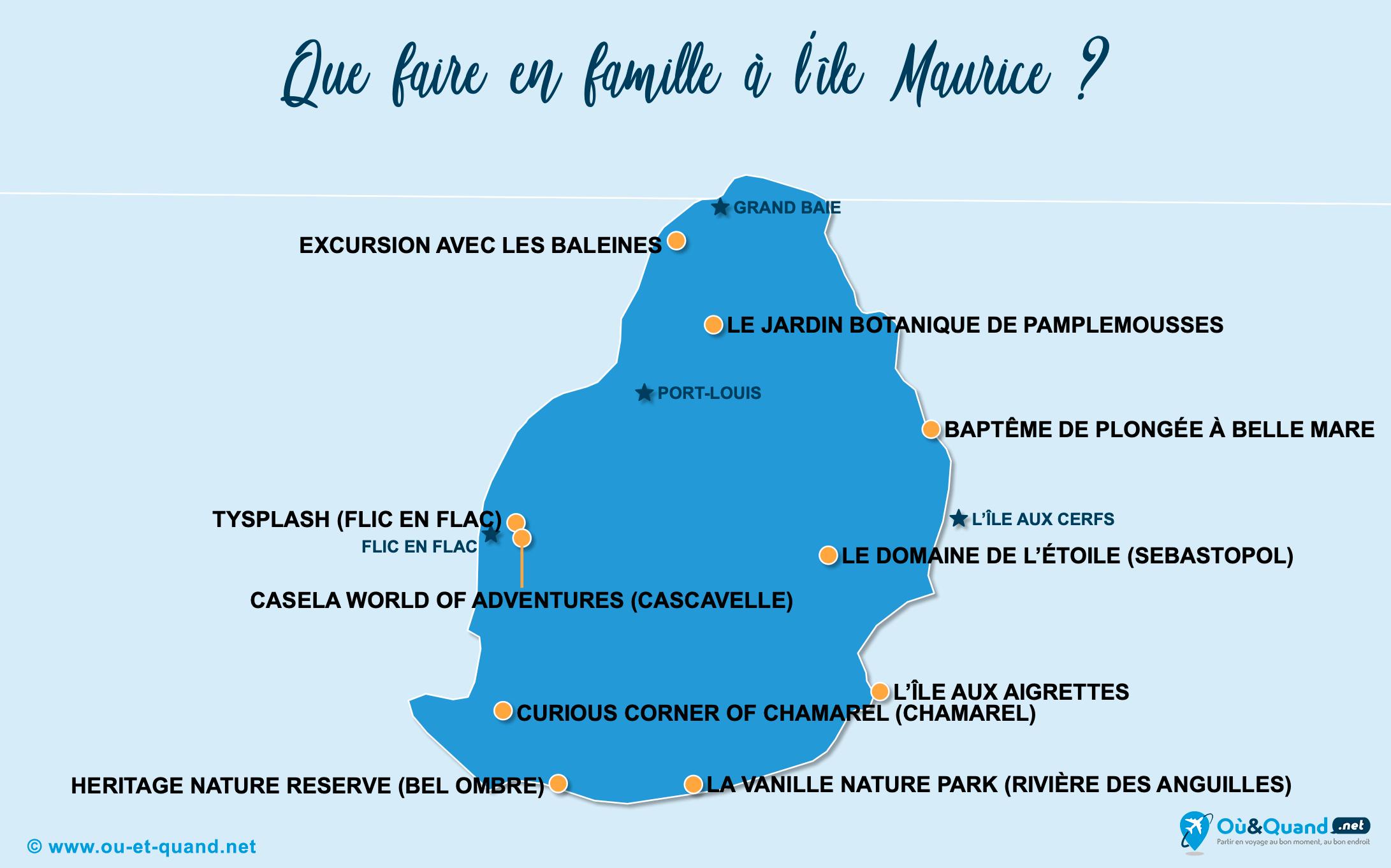 Carte île Maurice : L'île Maurice en famille