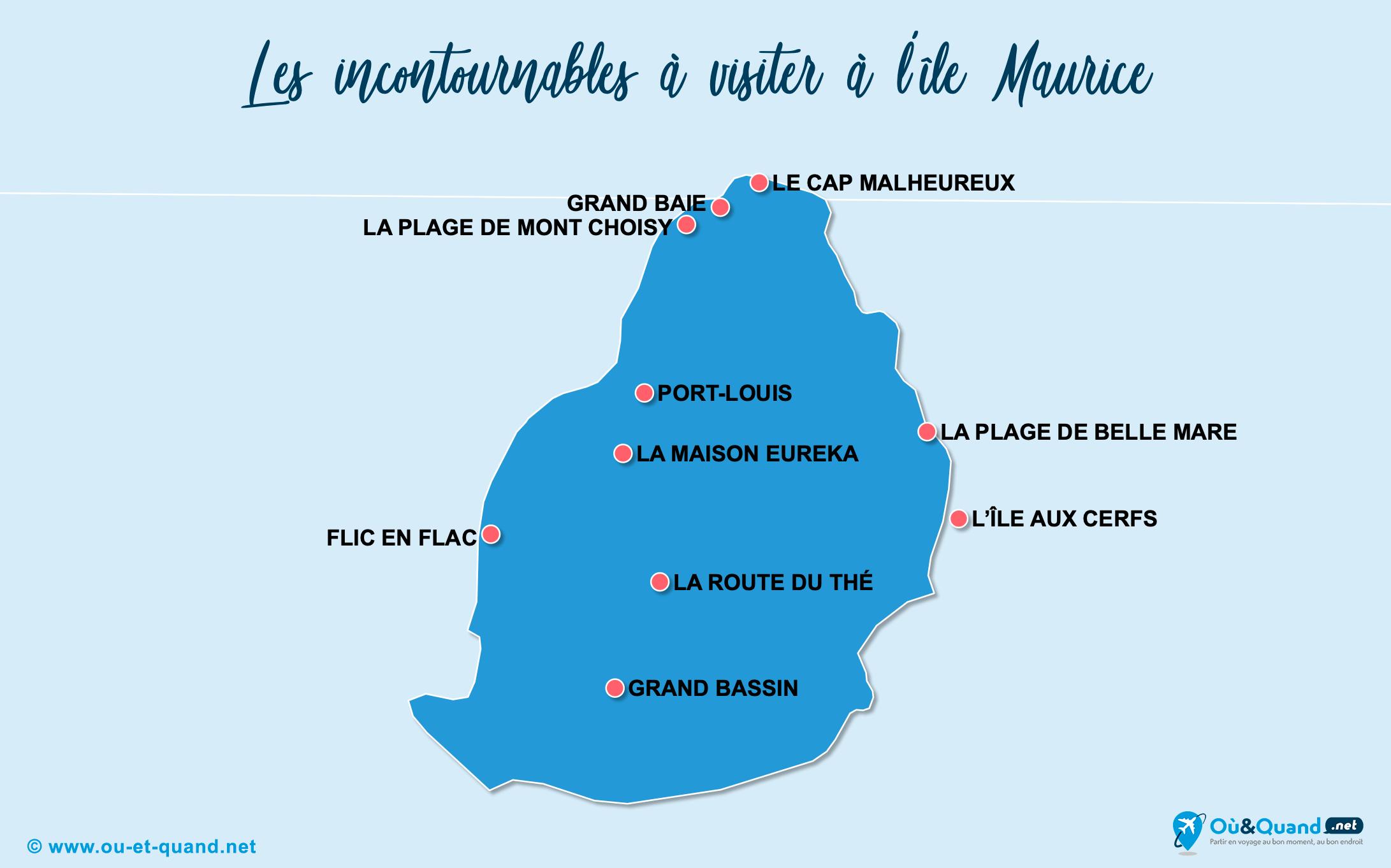 Carte Incontournables île Maurice