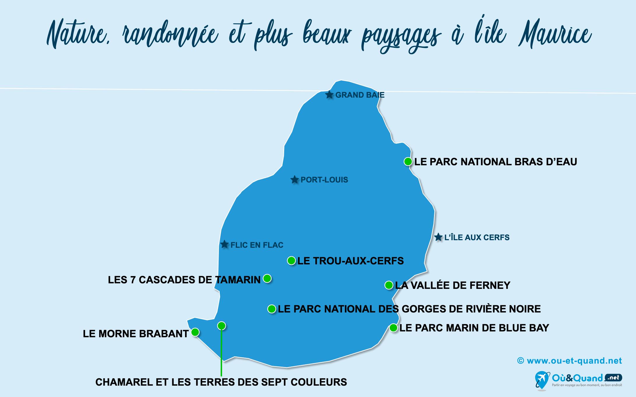 Carte île Maurice : Les plus beaux paysages de l'île Maurice