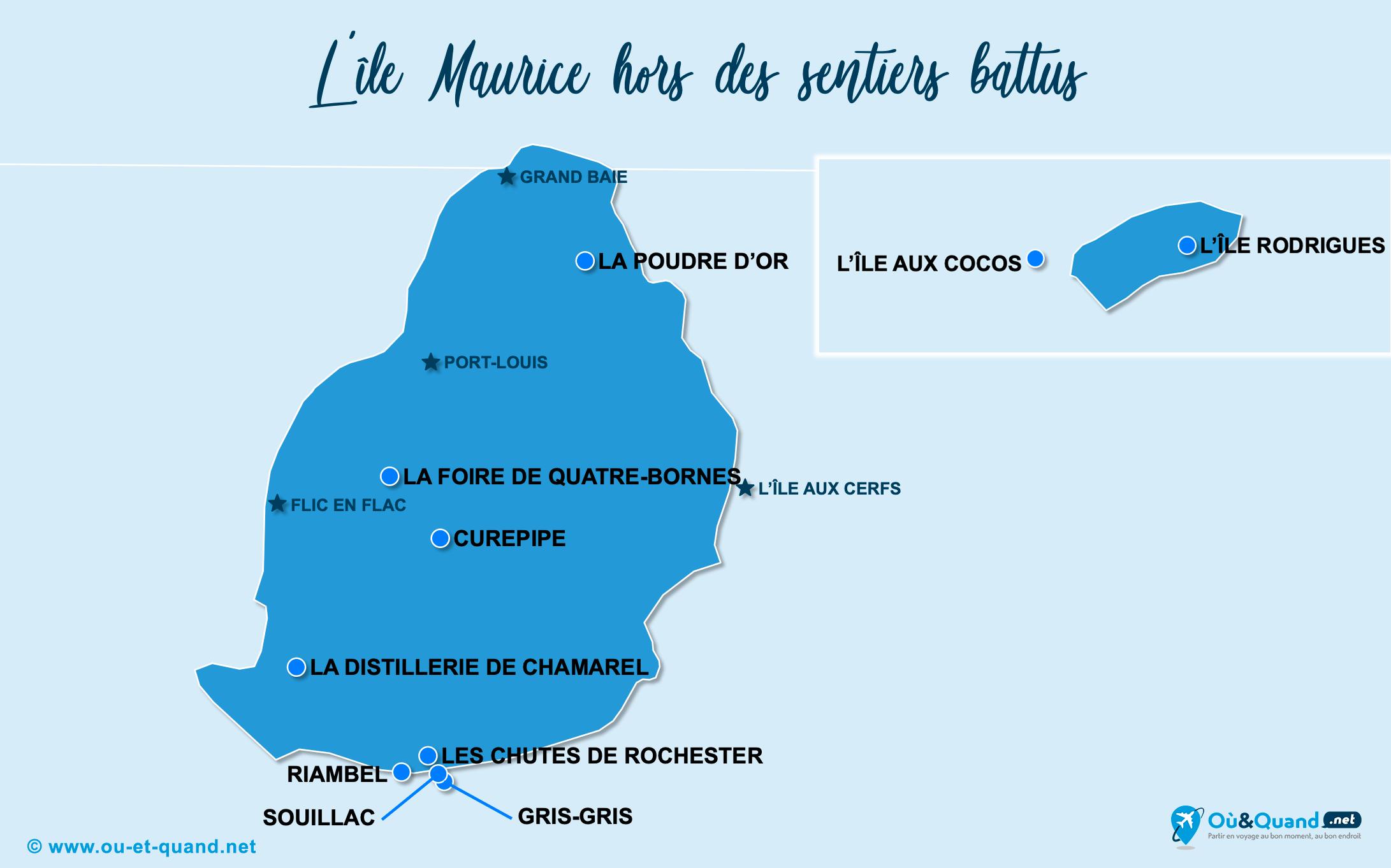 Carte île Maurice : L'île Maurice hors des sentiers battus