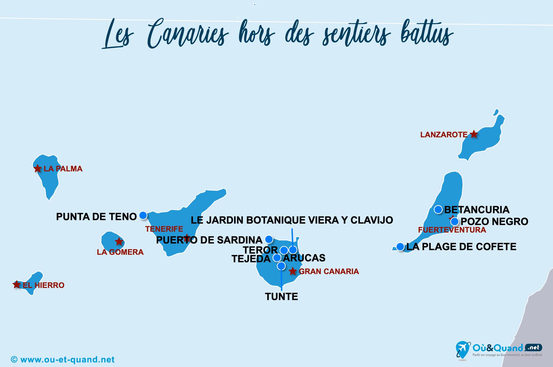Carte Canaries : Les Canaries hors des sentiers battus